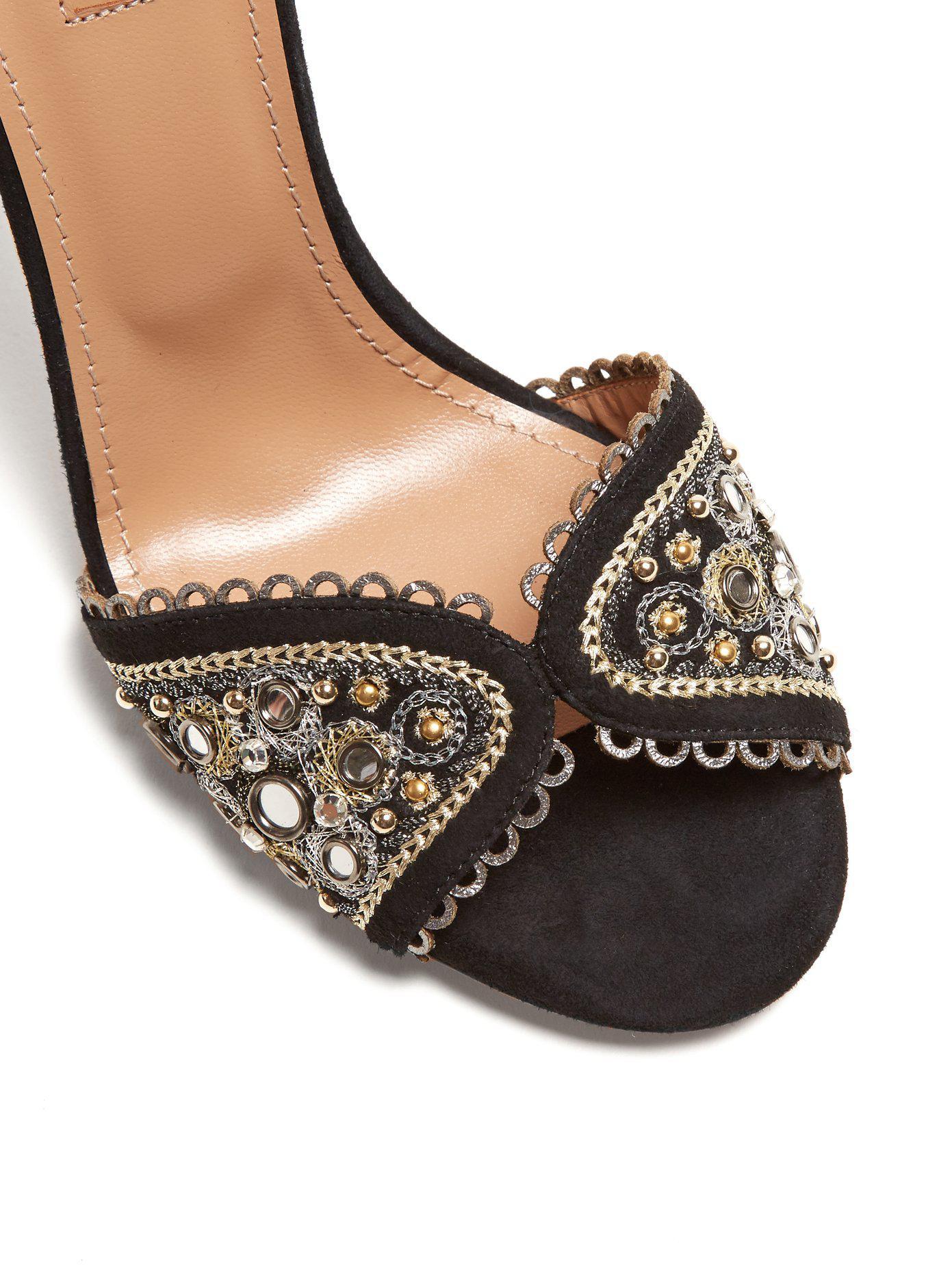 Sandales en daim brodées JaipurAquazzura KFDlaBw
