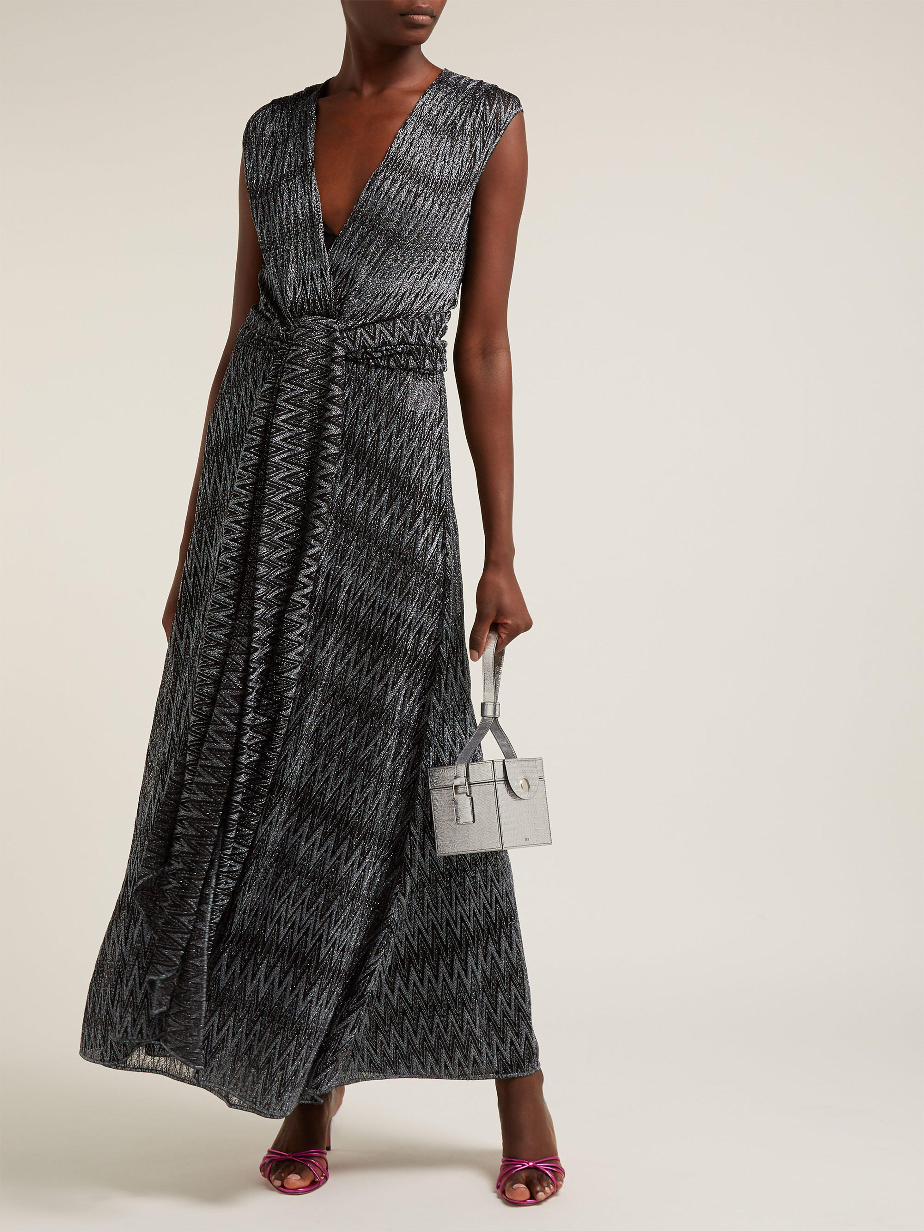 59f0280a57 Missoni Zigzag Knitted Wrap Front Dress in Black - Lyst