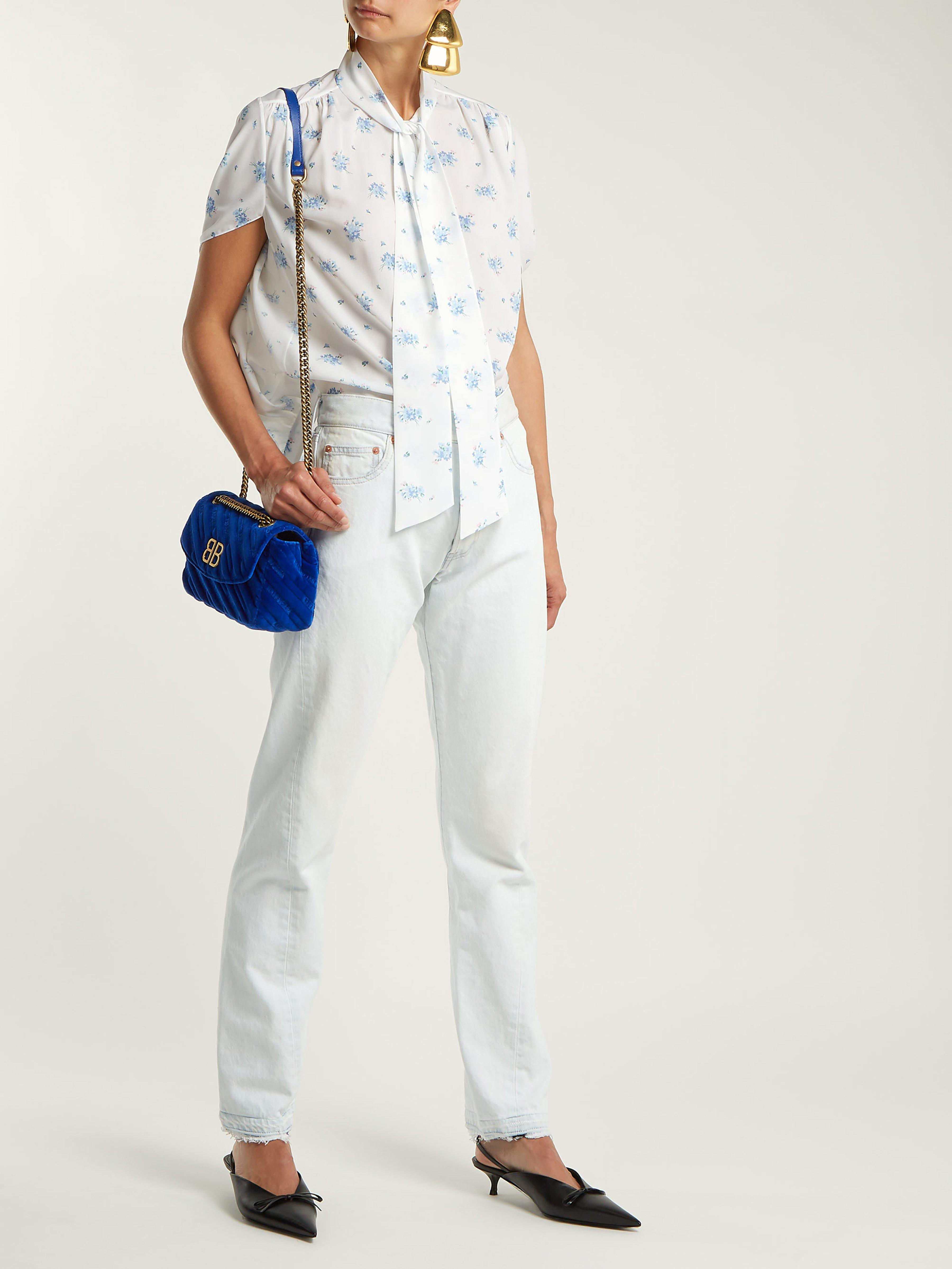 manga Blusa Balenciaga estampado de Lyst floral de azul trenzada de con aTraI