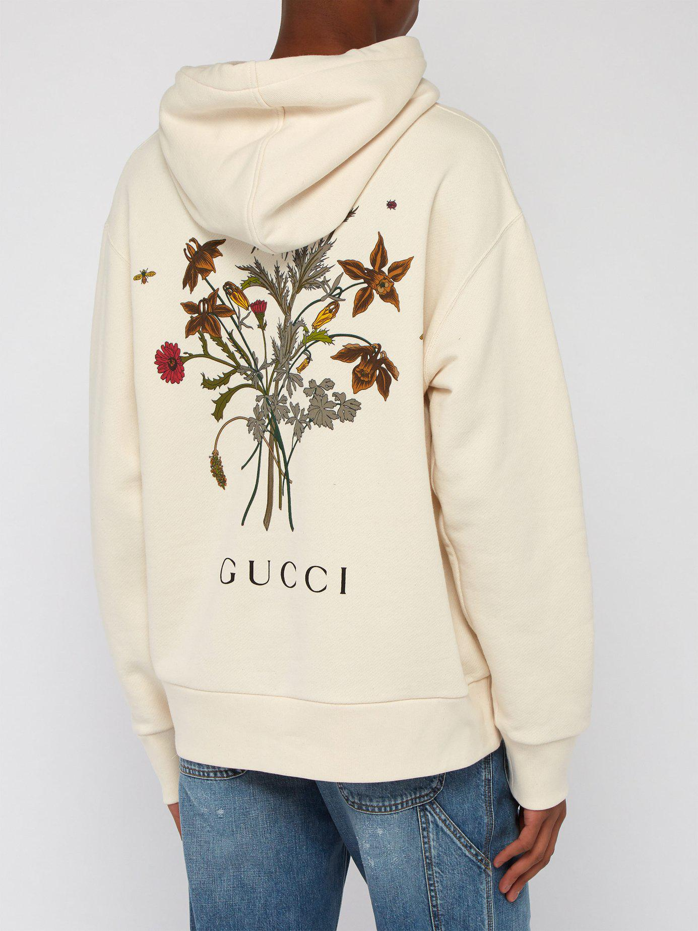e6f2afbe309 Lyst - Gucci Chateau Marmont Floral Hoody in White for Men