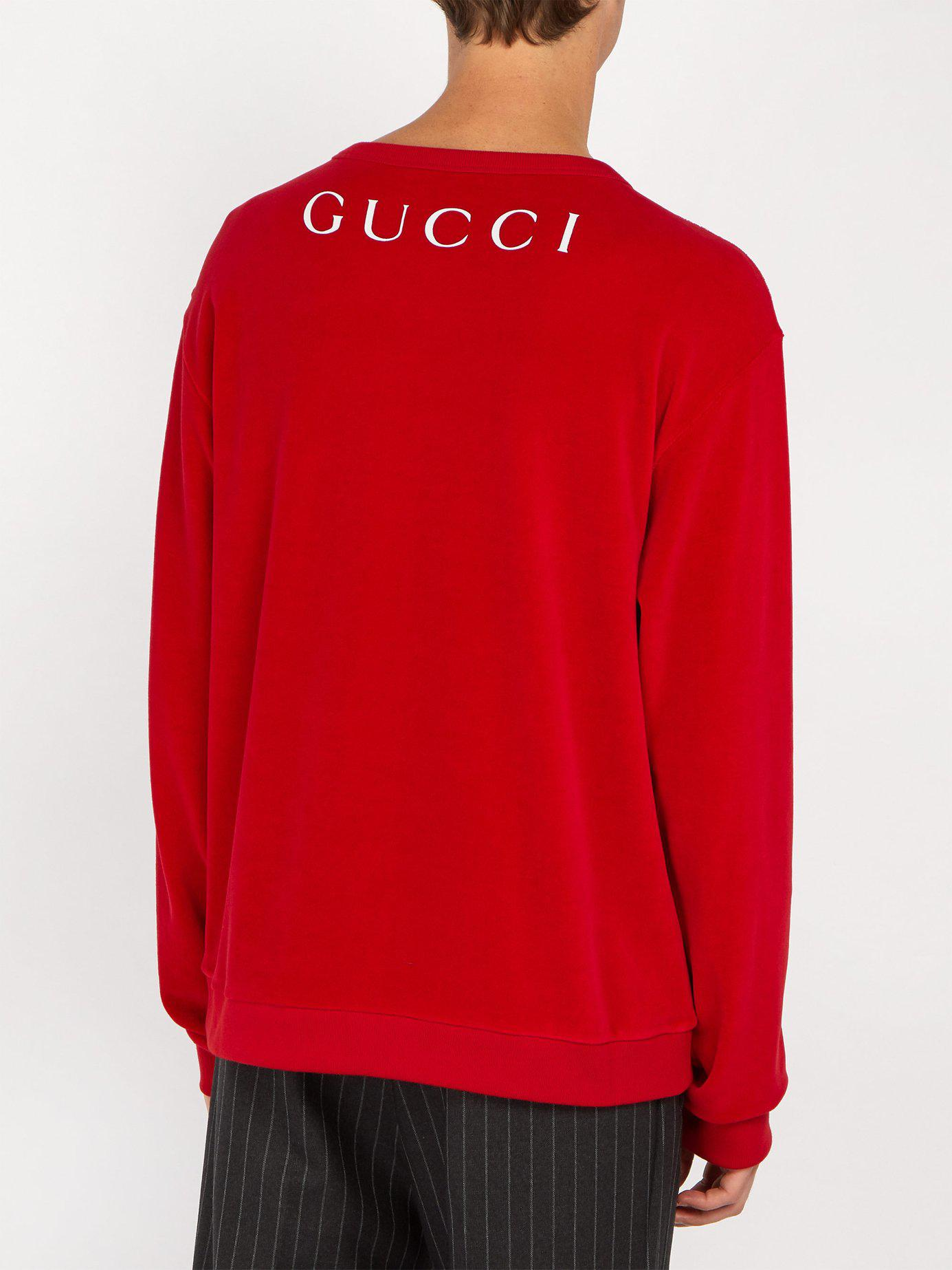 759960c9 Gucci Paramount Print Velvet Sweater in Red for Men - Lyst