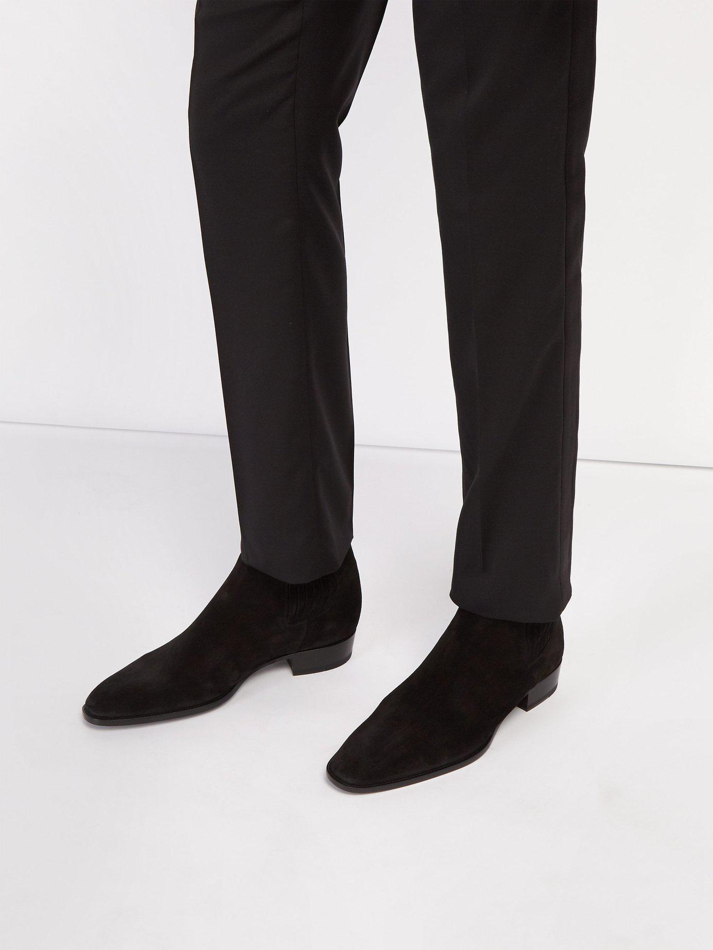 0c3911206fc6 Lyst - Saint Laurent Wyatt Suede Chelsea Boots in Black for Men