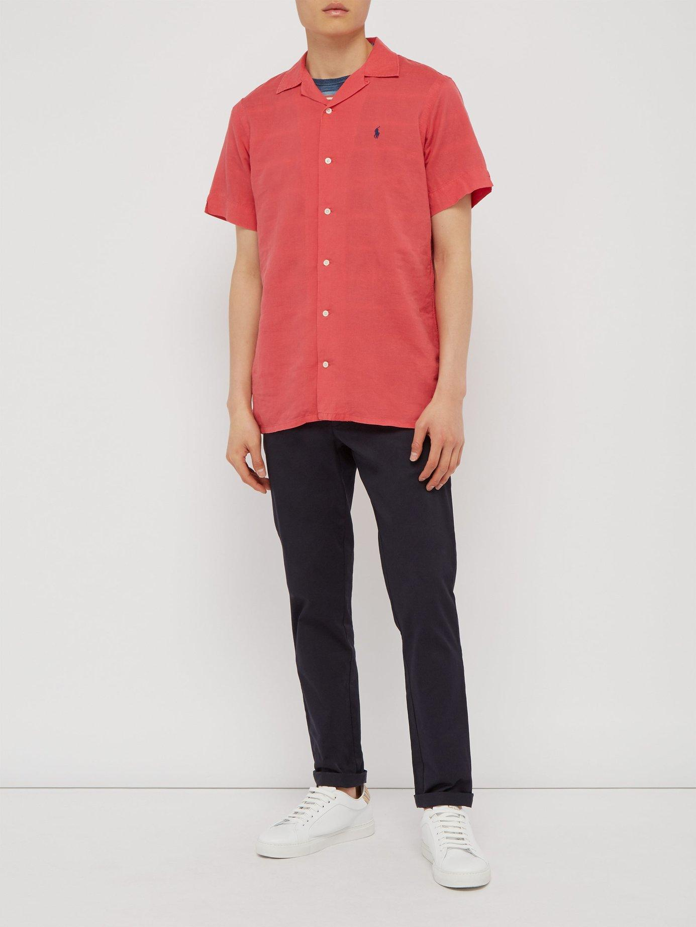 1fc162f5e Lyst - Polo Ralph Lauren Logo Embroidered Linen Blend Shirt in Red for Men