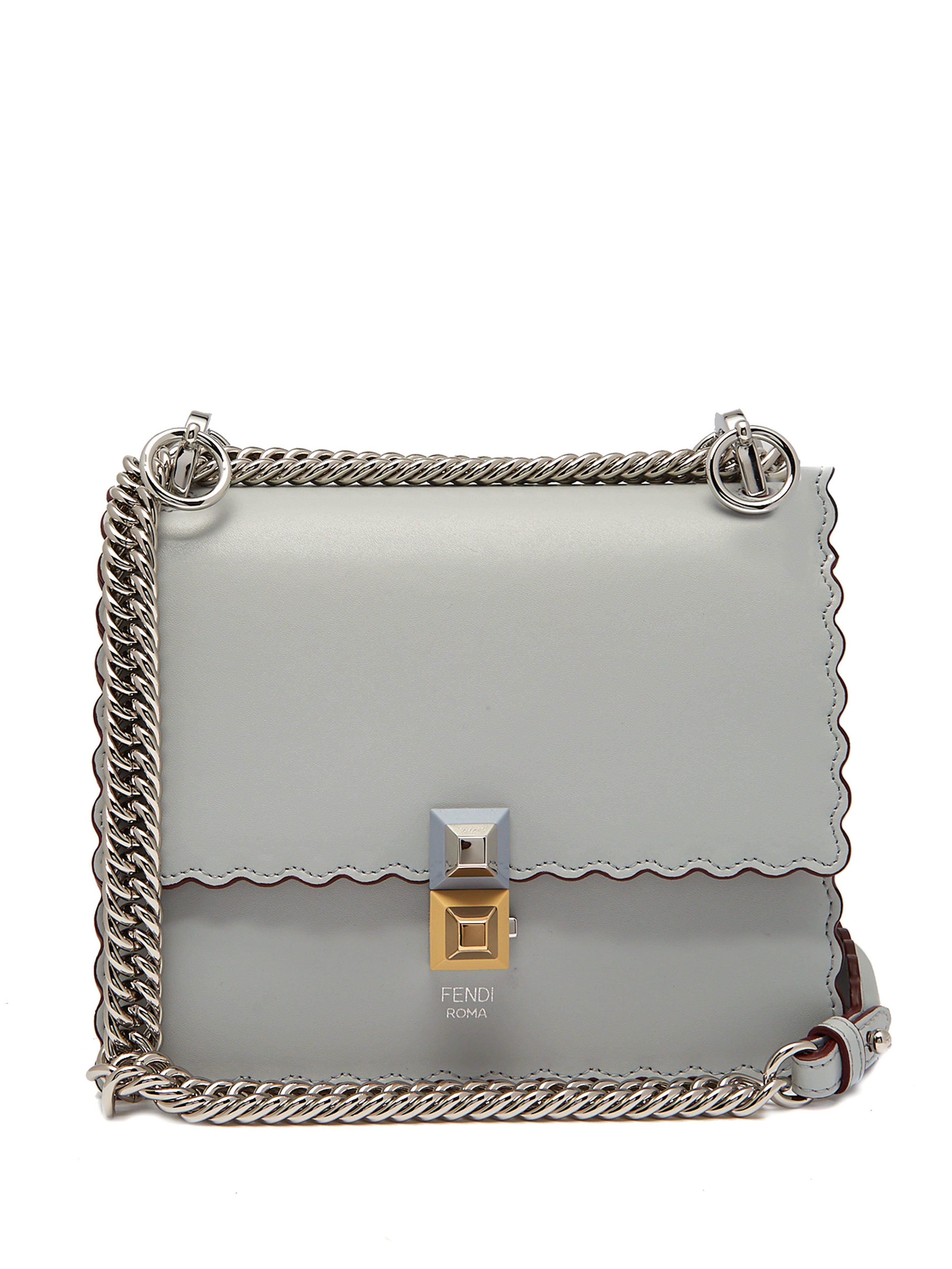 c75d9a6bfd Fendi Kan I Small Leather Cross Body Bag in Blue - Lyst