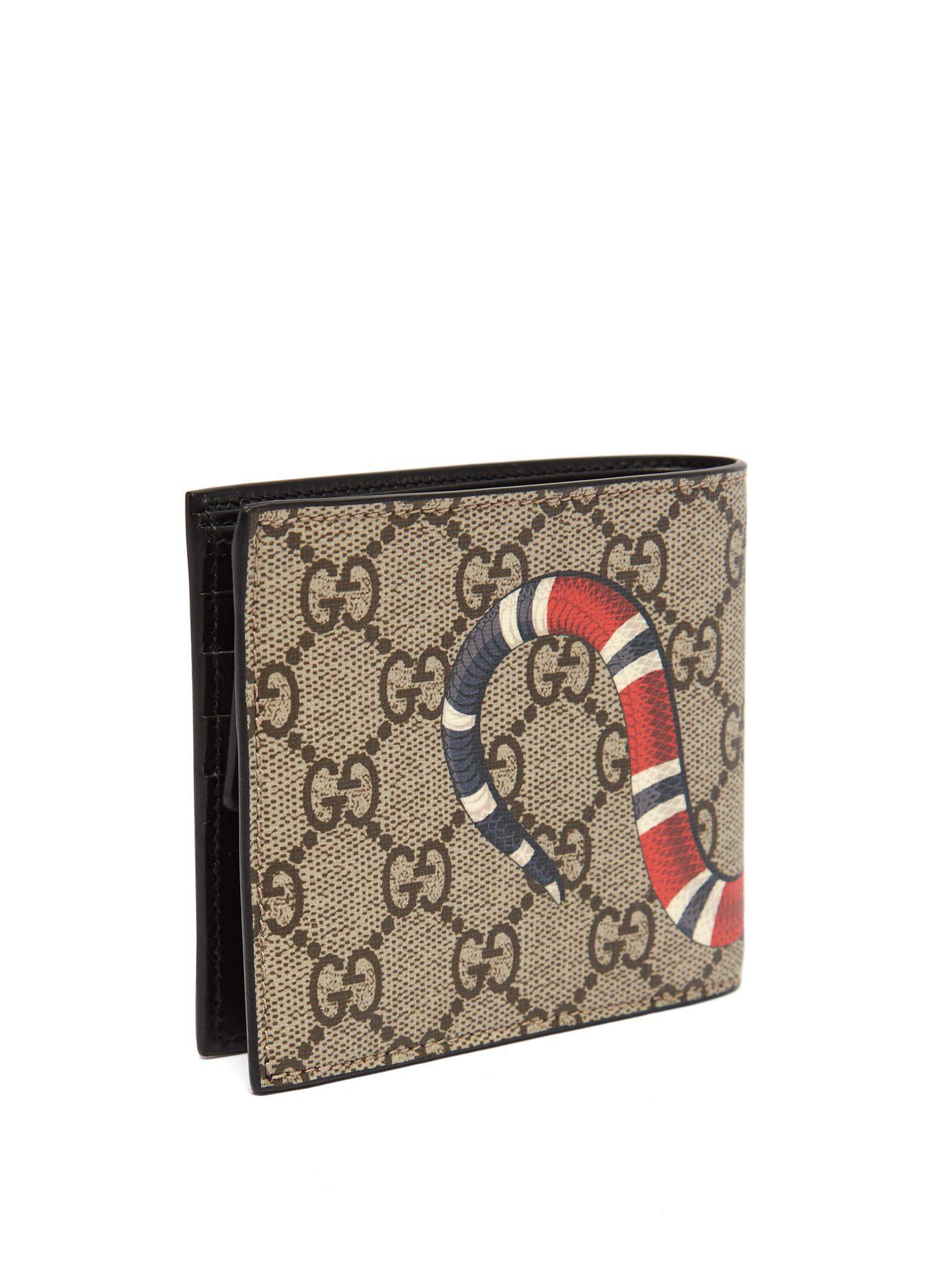 fbf0445ad14 Gucci - Brown Gg Supreme And Kingsnake Print Bi Fold Wallet for Men - Lyst.  View fullscreen