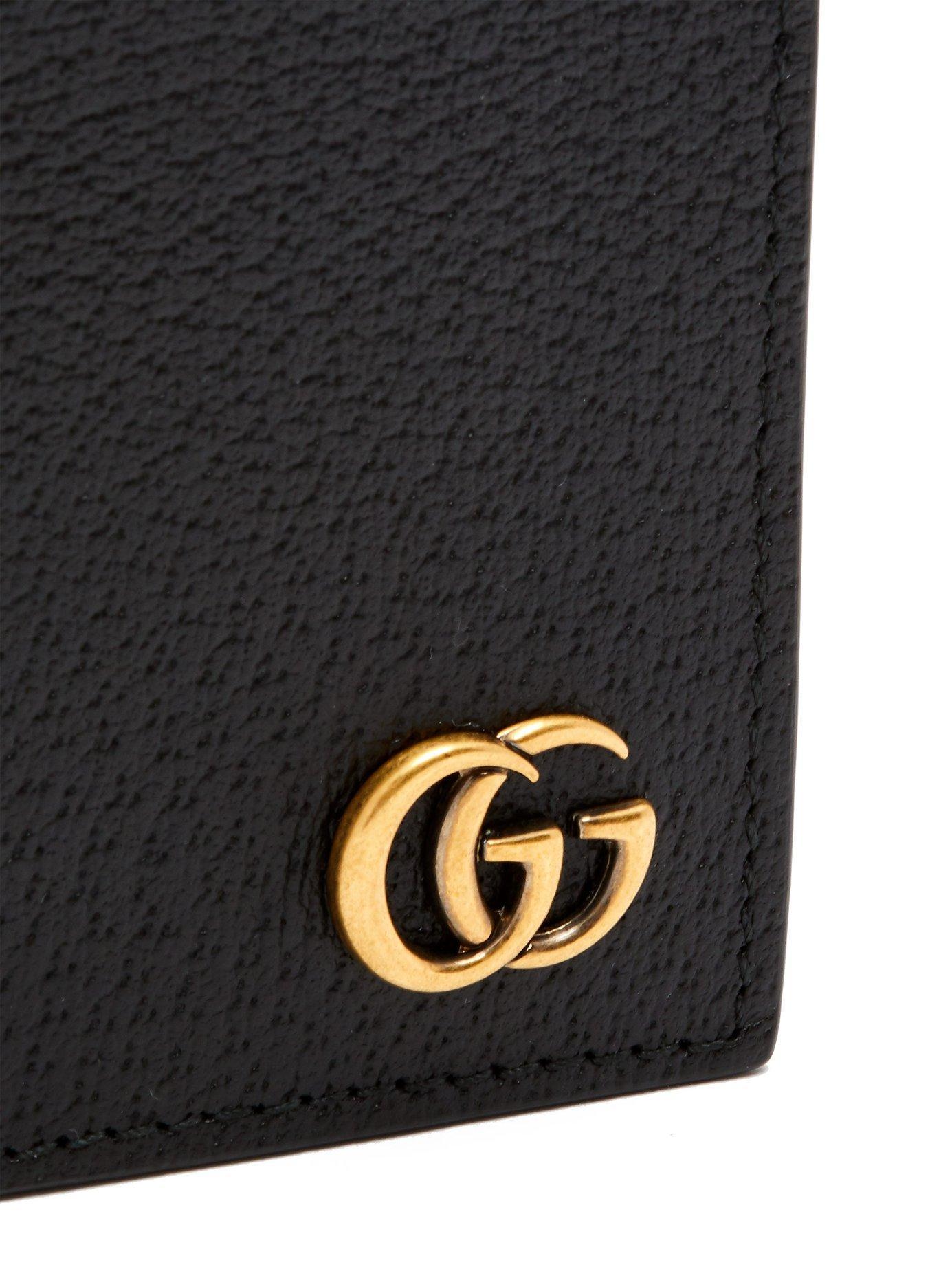 50661c63f5e5 Gucci - Black Gg Marmont Grained Leather Bi Fold Wallet for Men - Lyst.  View fullscreen