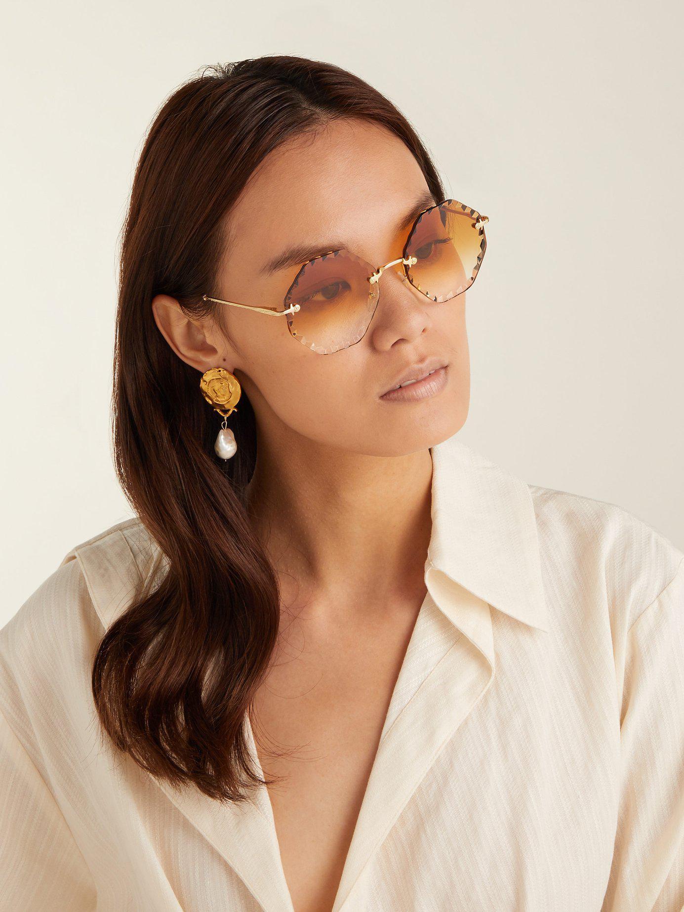 8fdfb51ef6 Lyst - Chloé Rosie Octagon Frame Sunglasses in Metallic