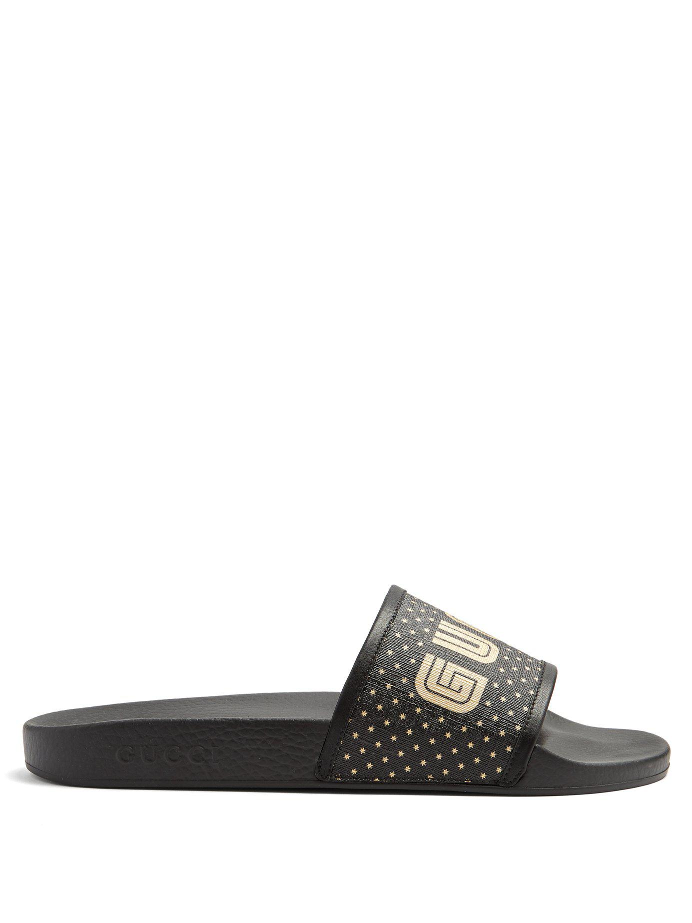 a2668beb4 Lyst - Gucci Logo Print Leather Trimmed Rubber Pool Slides in Black ...