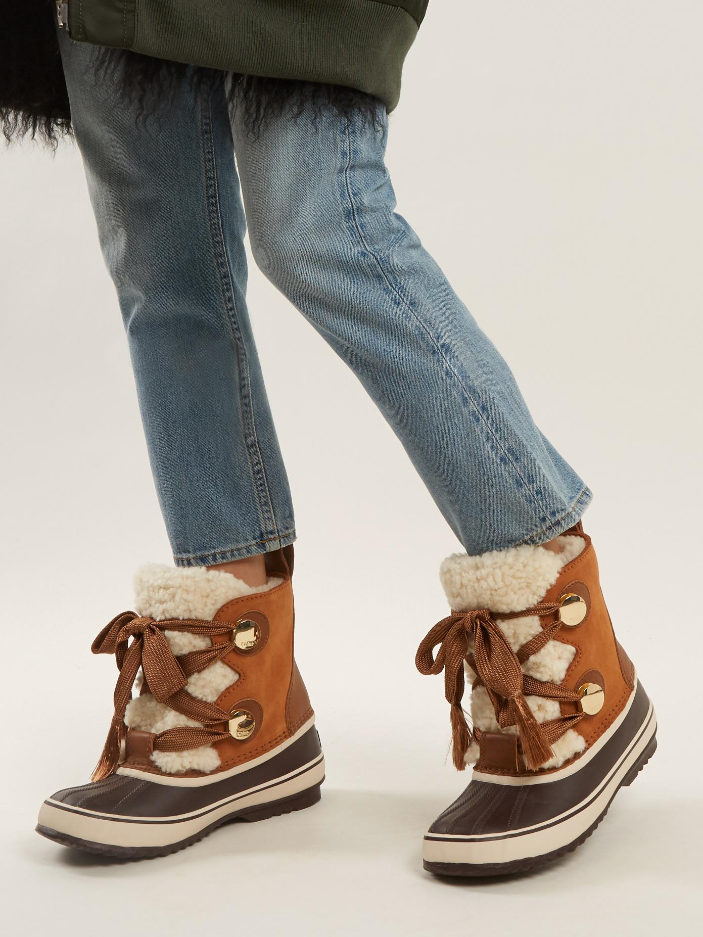 Lyst Chlo 233 X Sorel Suede Apr 232 S Ski Boots In Brown