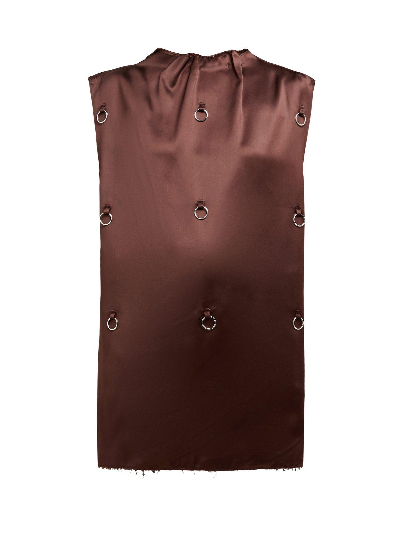 fa1dc9bf05a228 Lyst - Raf Simons O Ring Embellished Satin Tank Top in Brown