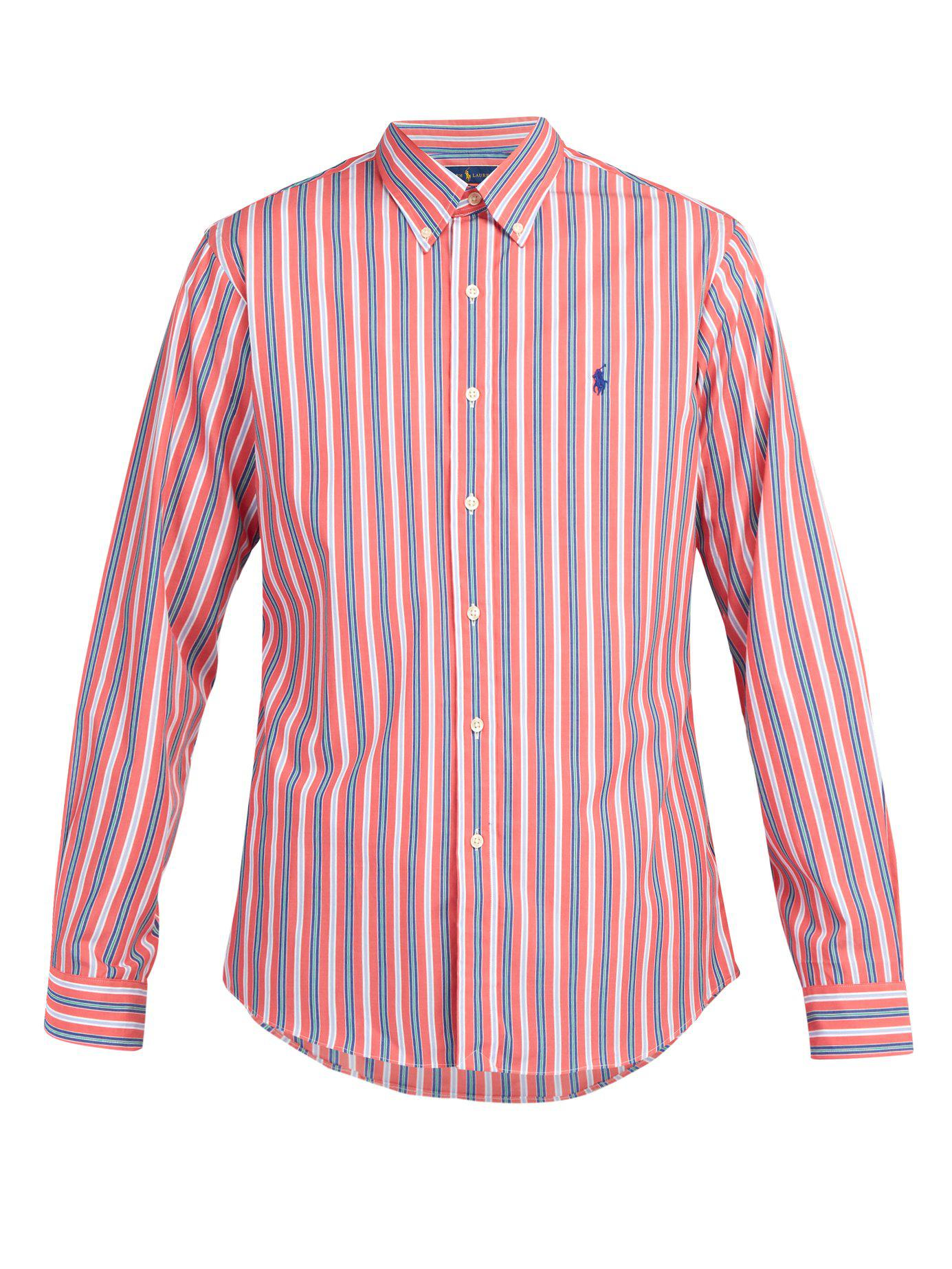 2058ab94e Lyst - Polo Ralph Lauren Slim Fit Striped Cotton Poplin Shirt in Red ...
