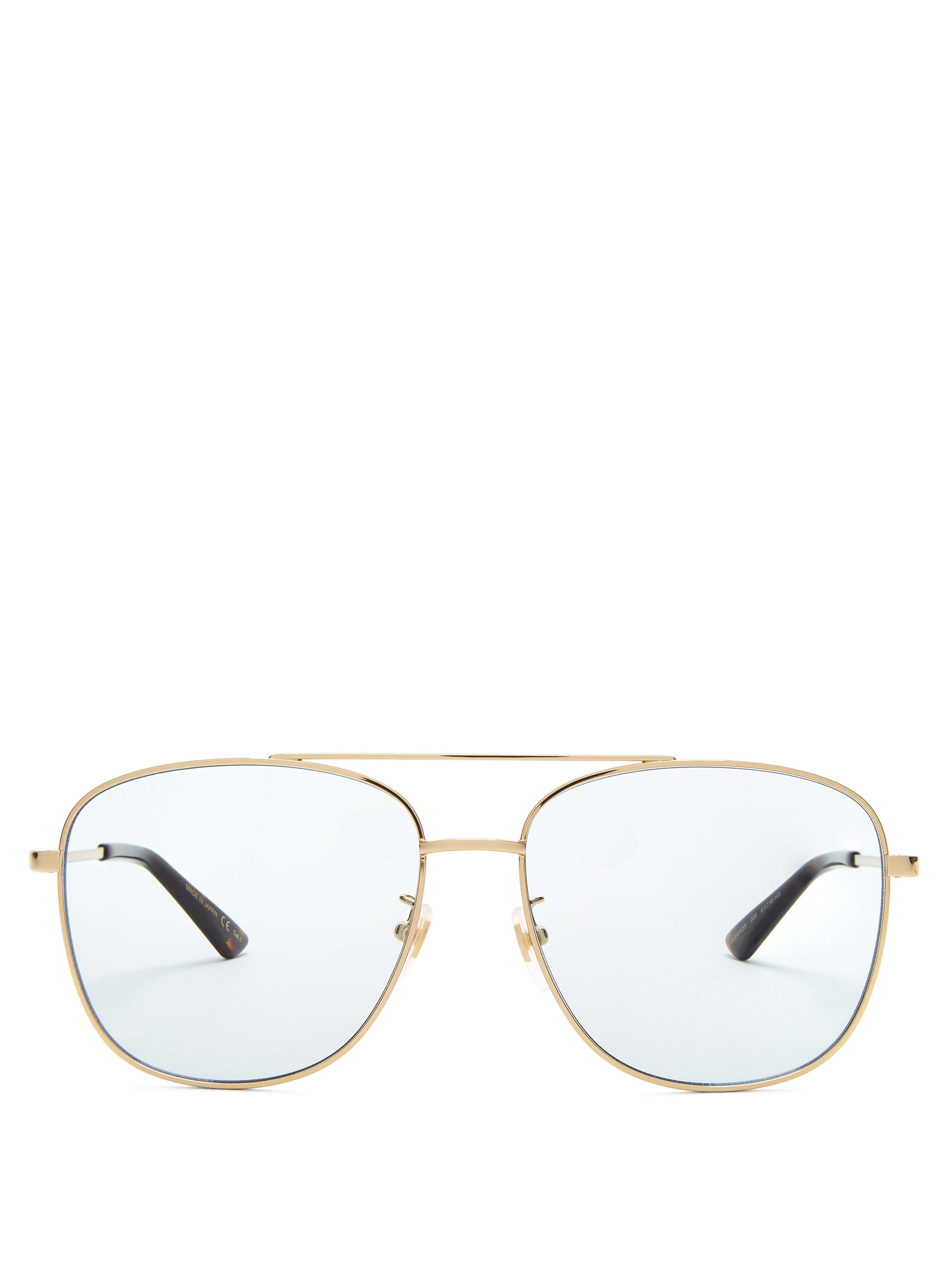 b2e934edb5 Gucci Aviator Square Frame Metal Sunglasses in Blue - Lyst
