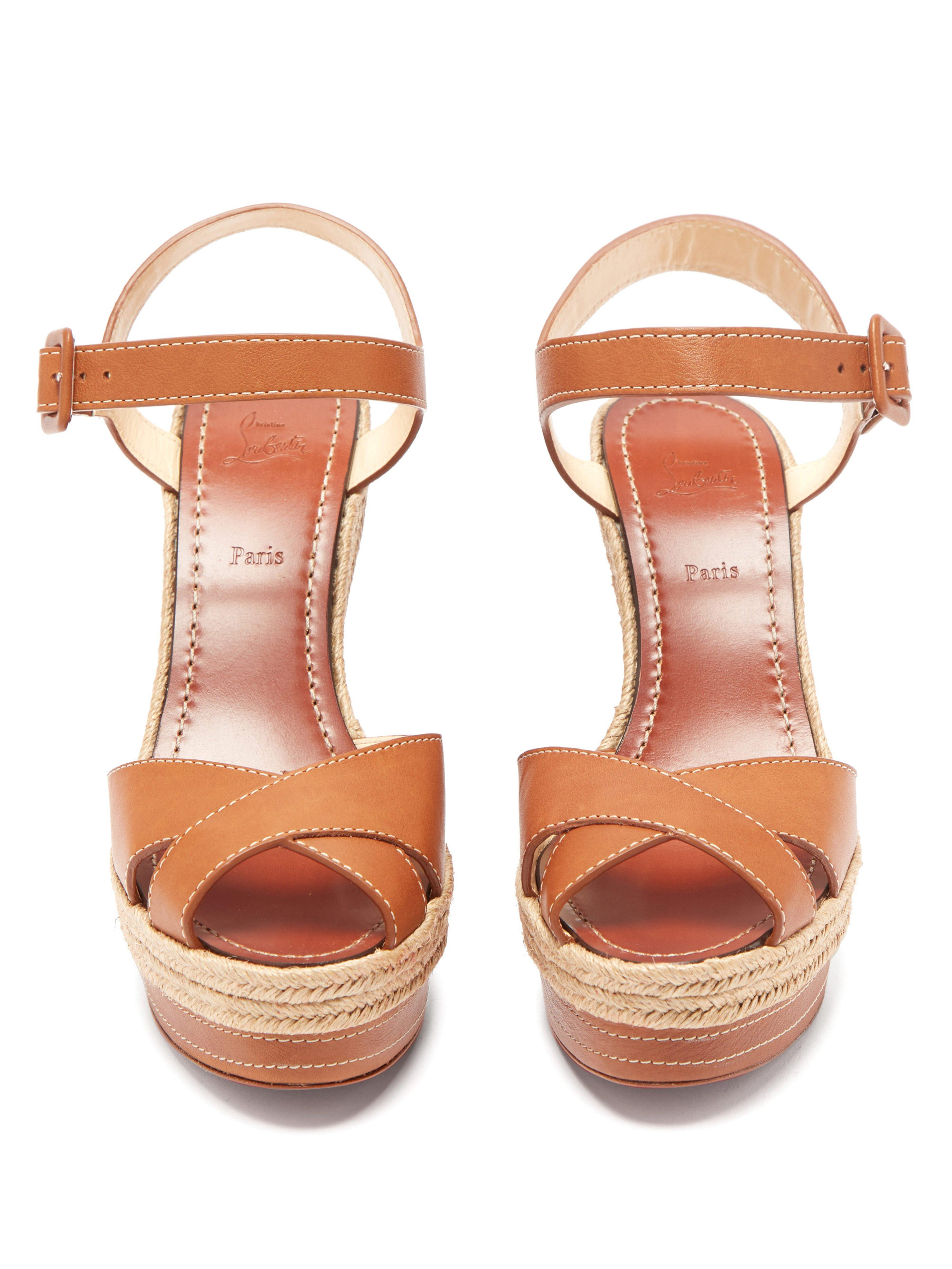 47111ebb275 Christian Louboutin Almeria 120 Jute Trim Leather Wedge Sandals in ...