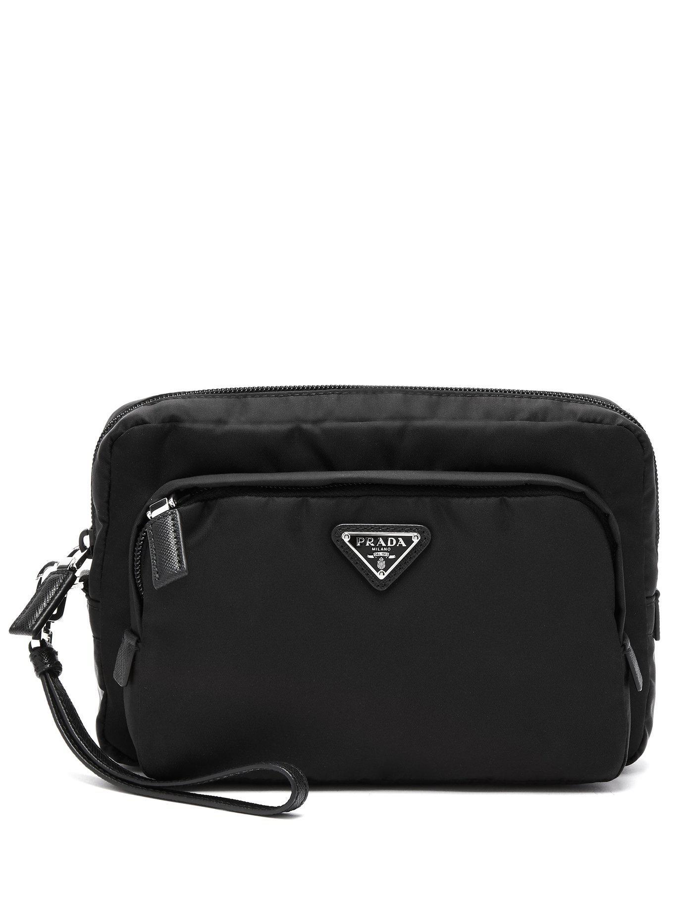 74fc54fe263565 Prada - Black Logo Embellished Nylon Camera Pouch for Men - Lyst. View  fullscreen
