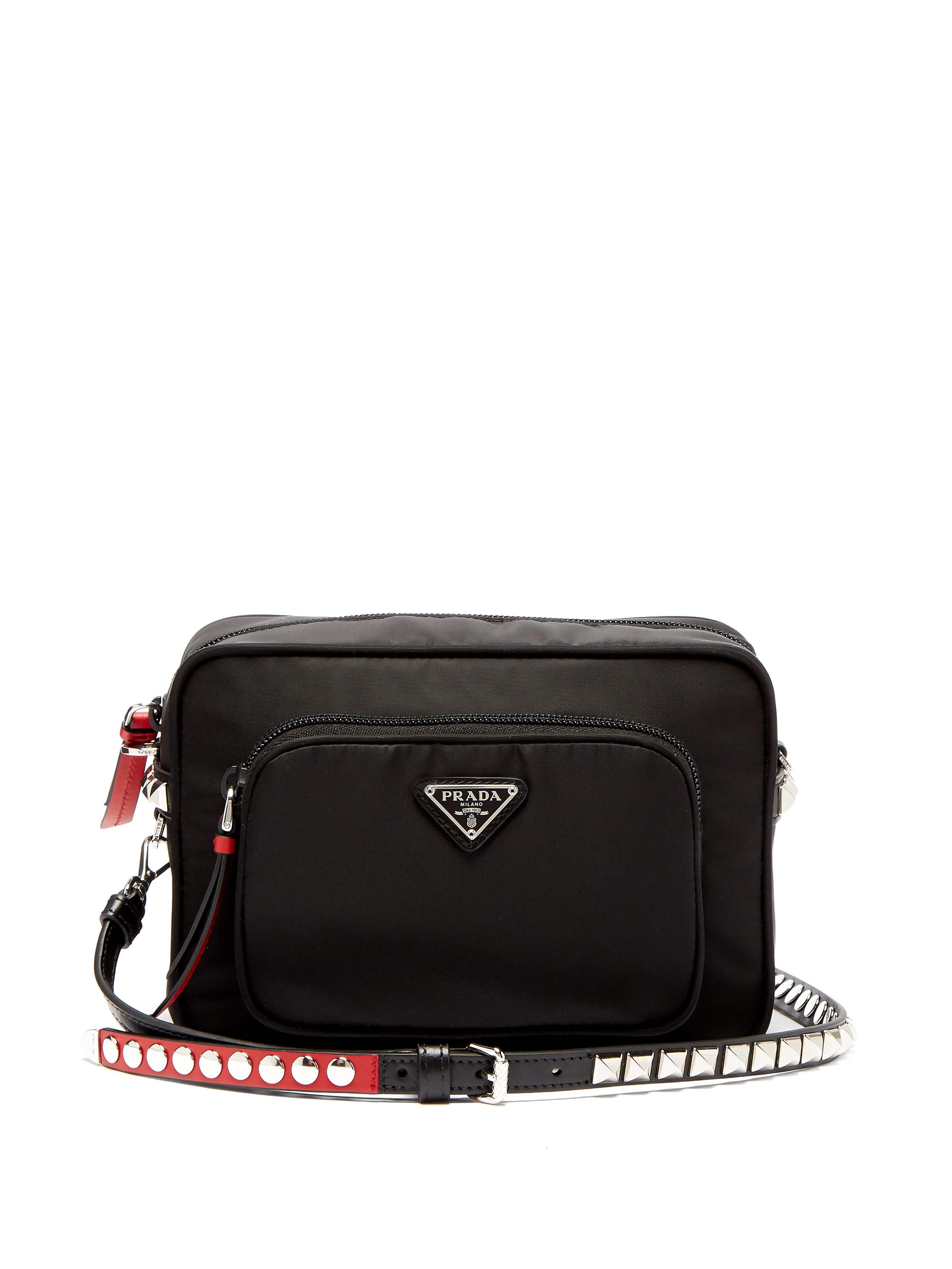 079d41c67cb6 Prada - Black New Vela Mini Studded Nylon Cross Body Bag - Lyst. View  fullscreen