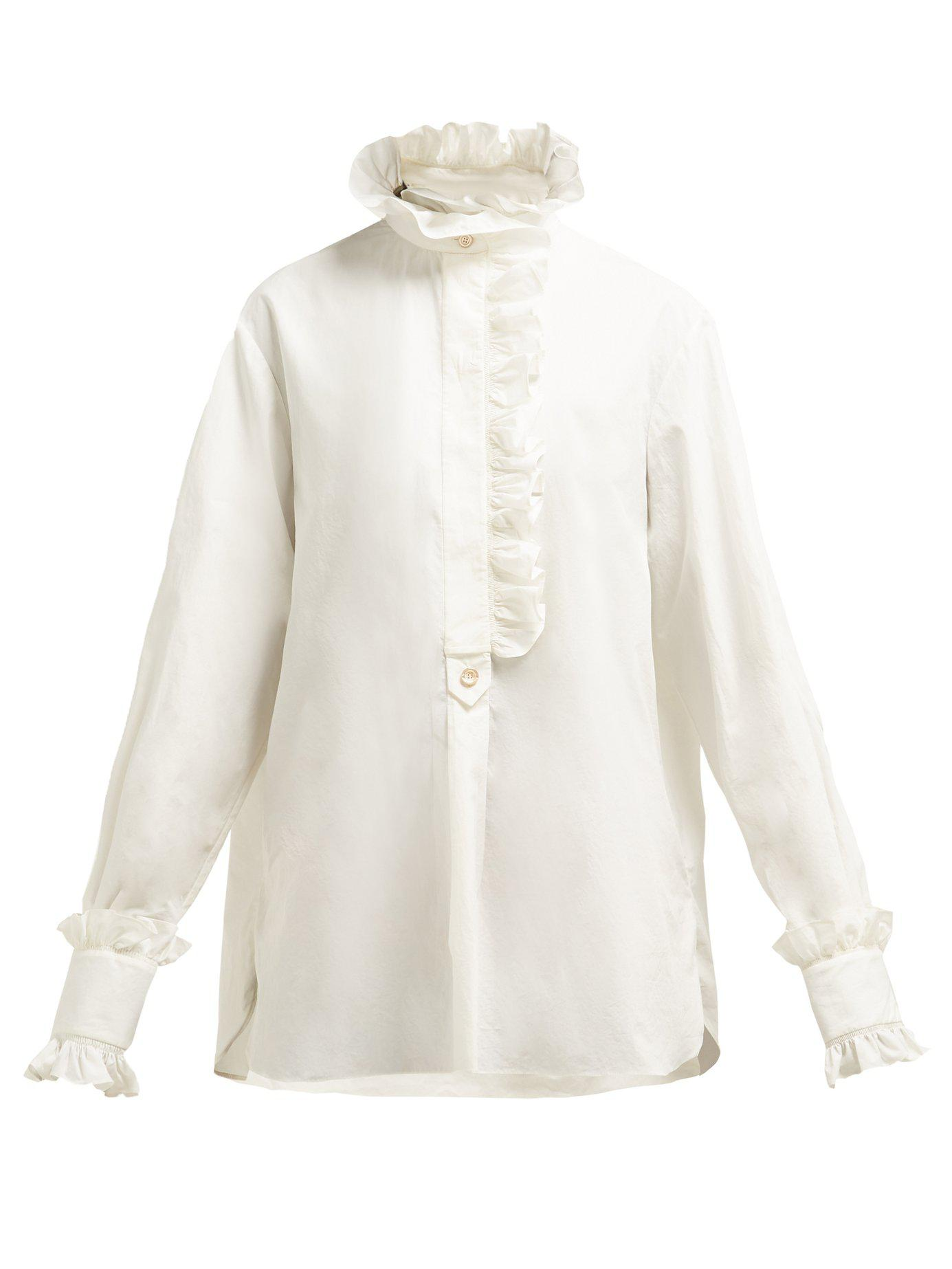 69cc04866d3 Lyst - Gucci Ruffled Cotton Poplin Shirt in White