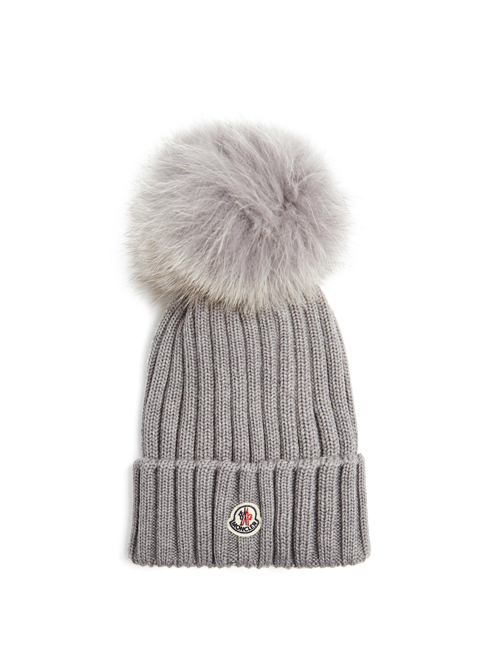 2a94e04b138 Lyst - Moncler Fur-pompom Wool Beanie Hat in Gray