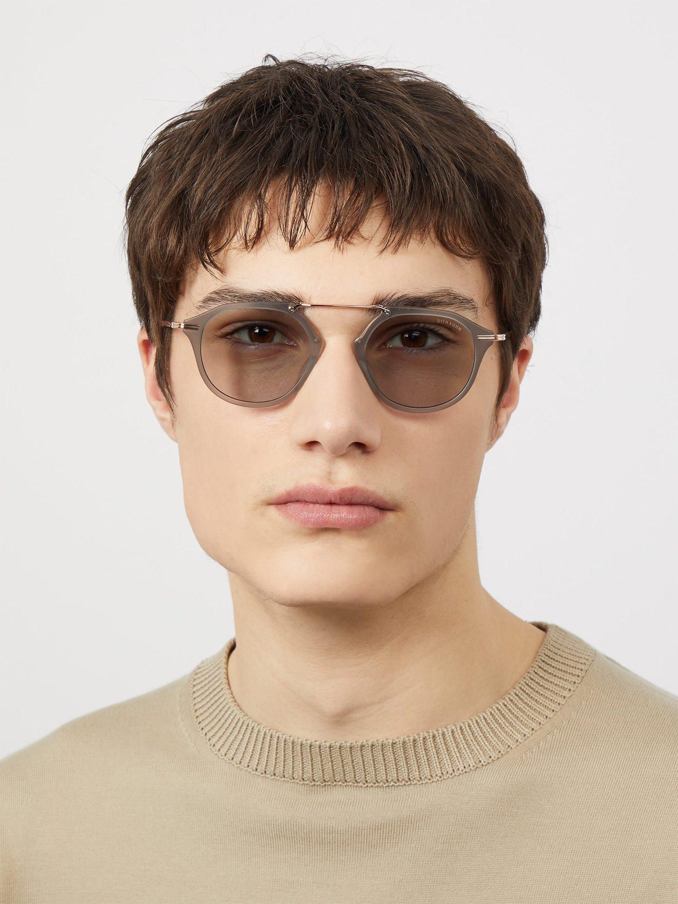 f726162d0fbfd Lyst - Dita Eyewear Kohn Round Frame Titanium And Acetate Sunglasses in  Gray for Men