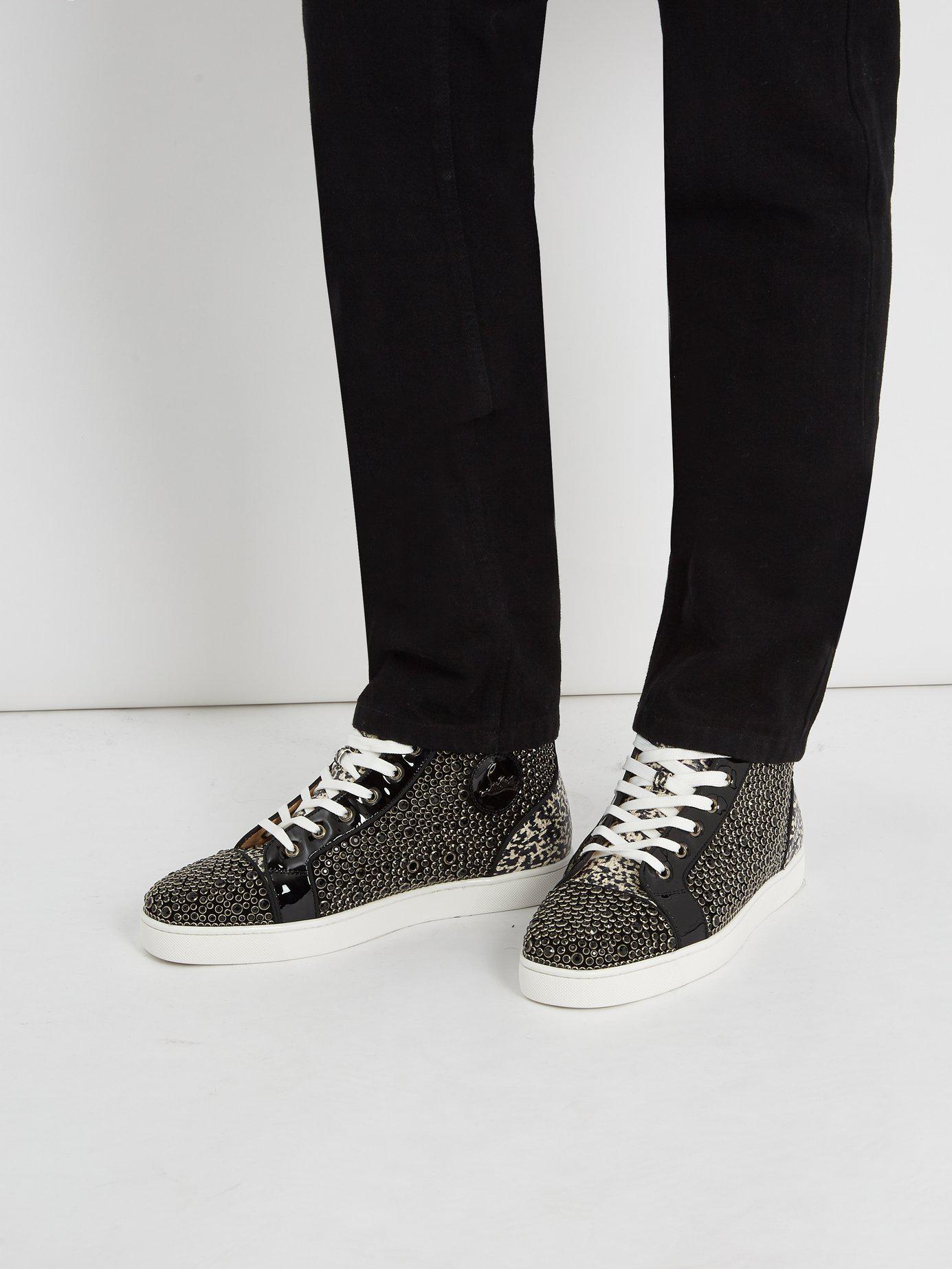 bad5836cec1f Lyst - Christian Louboutin Louis Orlato High Top Patent Leather Trainers in  Black for Men