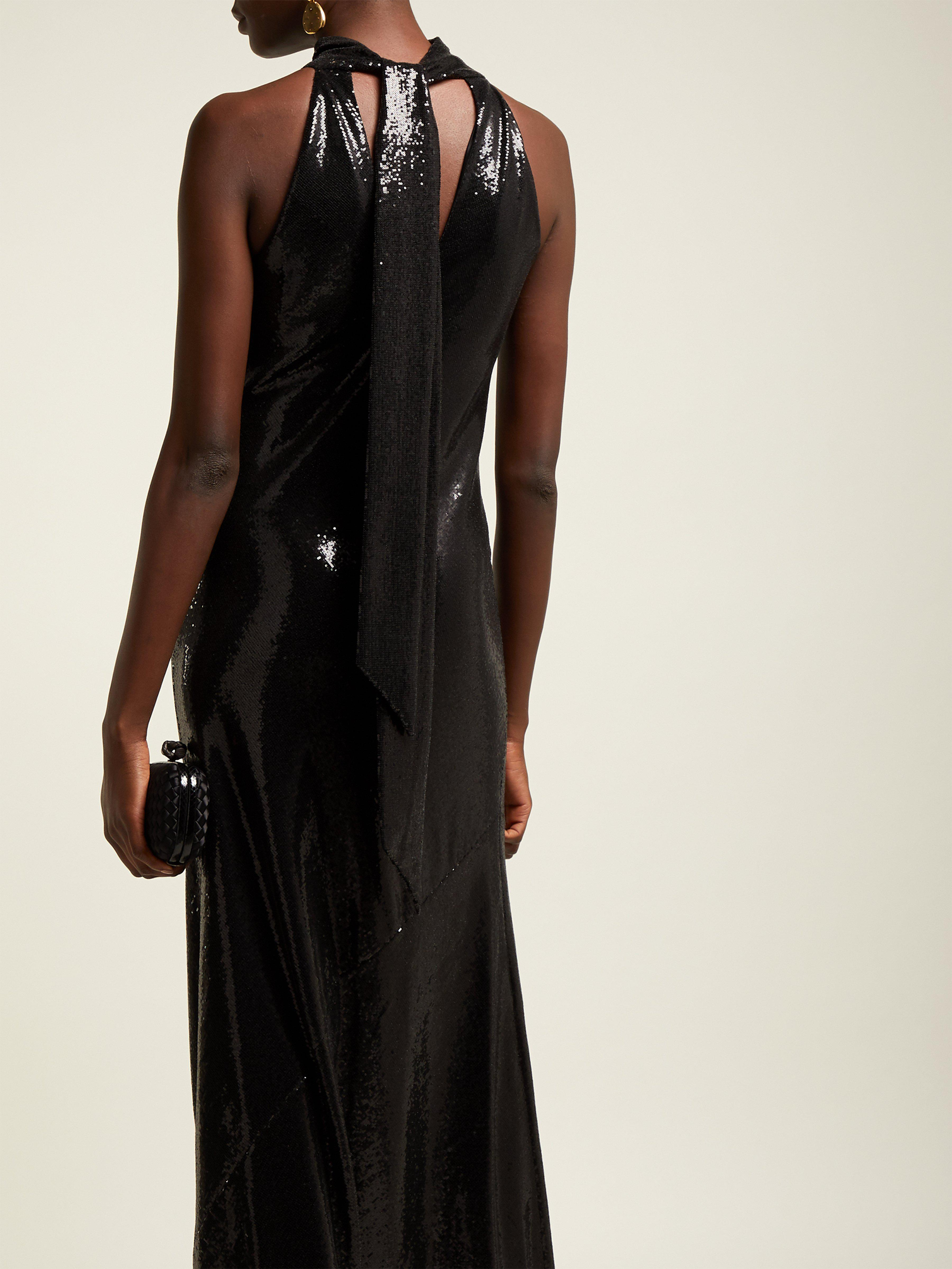 abd3cbac Galvan London Daniela Sequined Halterneck Gown in Black - Lyst
