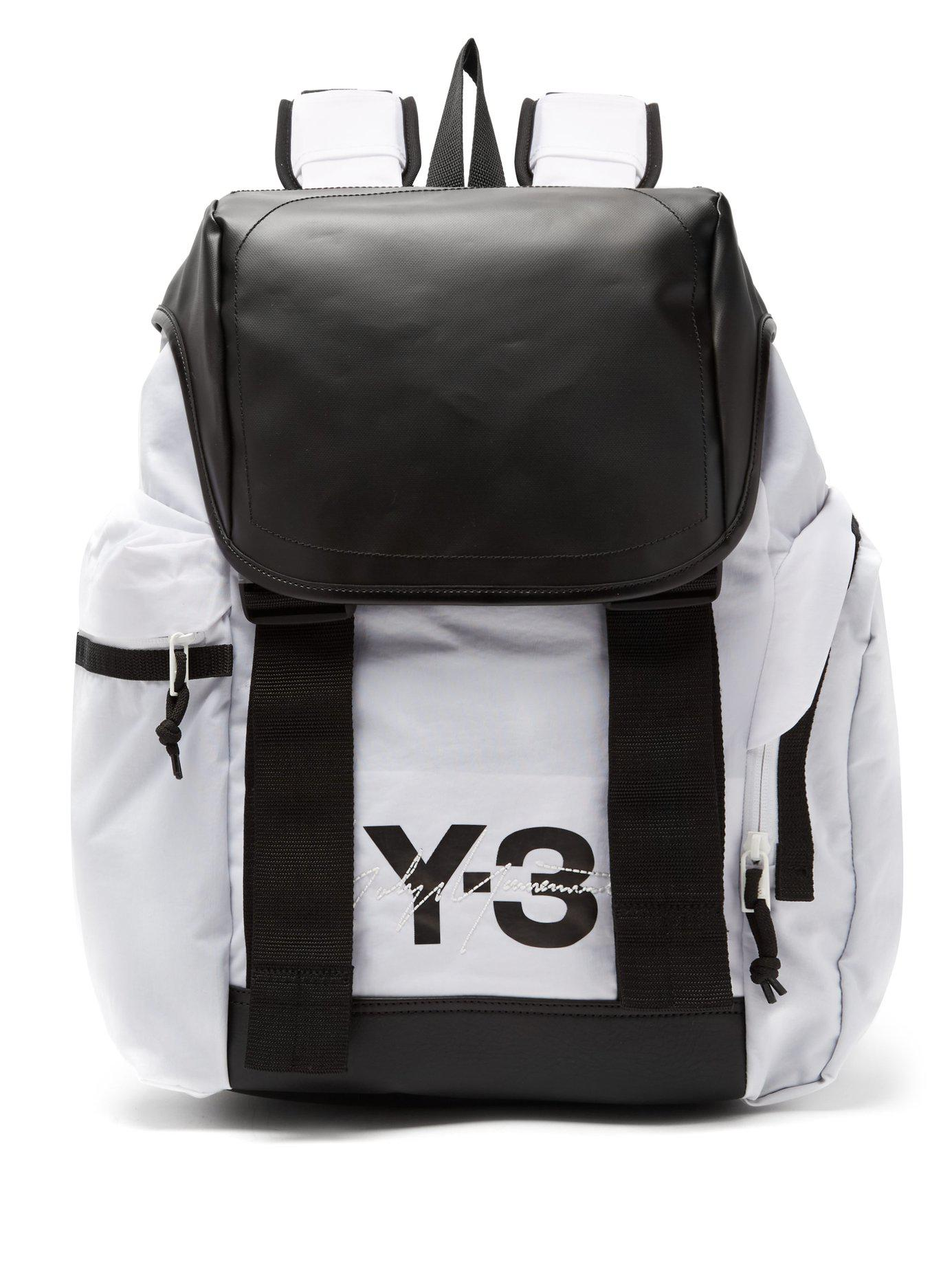 ... Lyst  competitive price 279c2 94bbd Y-3. Mens White Logo-print Backpack  ... 6fd4f325e8