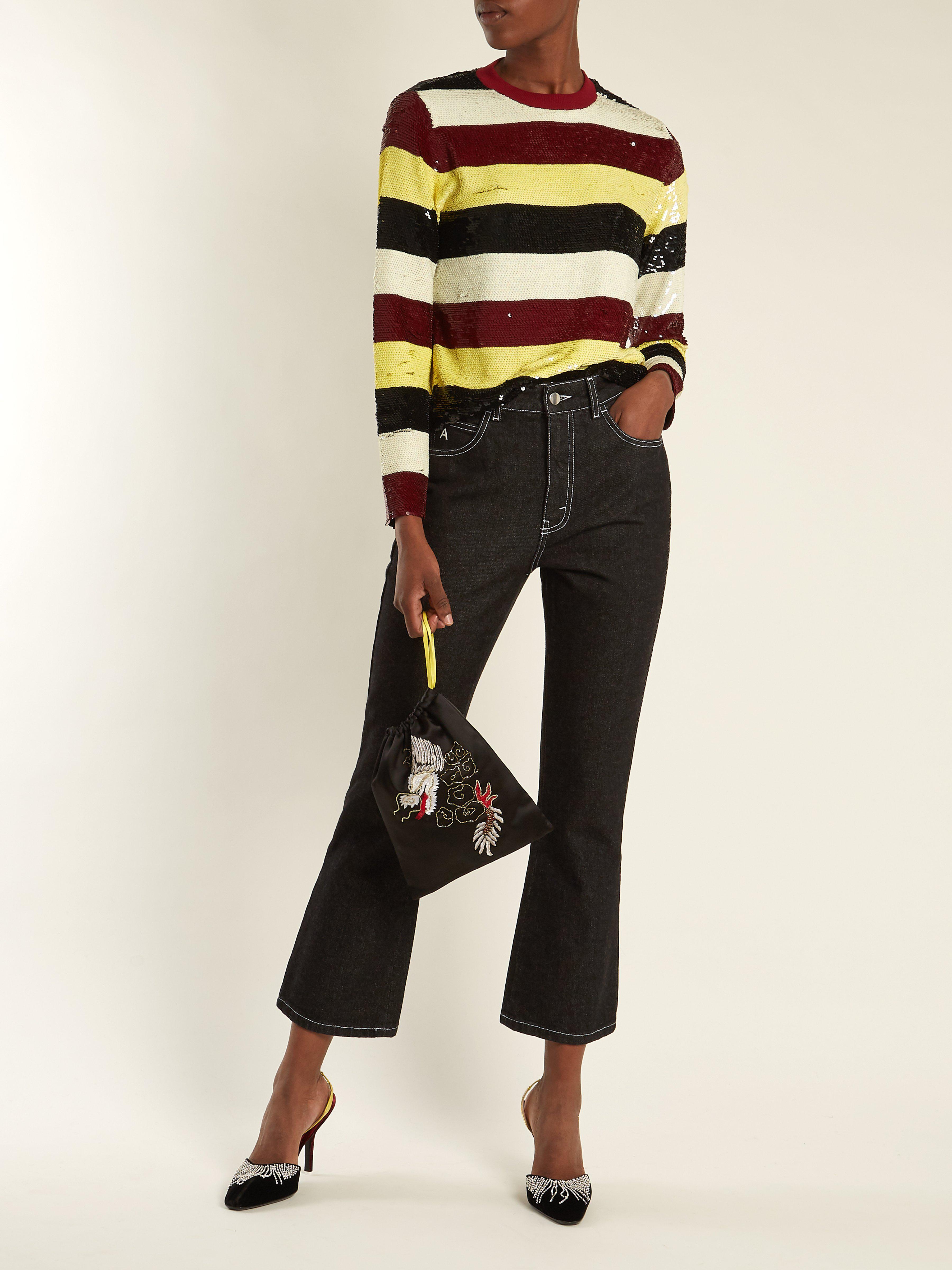 c8dfe1eb8e4c3c Ashish Striped Sequin Embellished Silk Top - Lyst