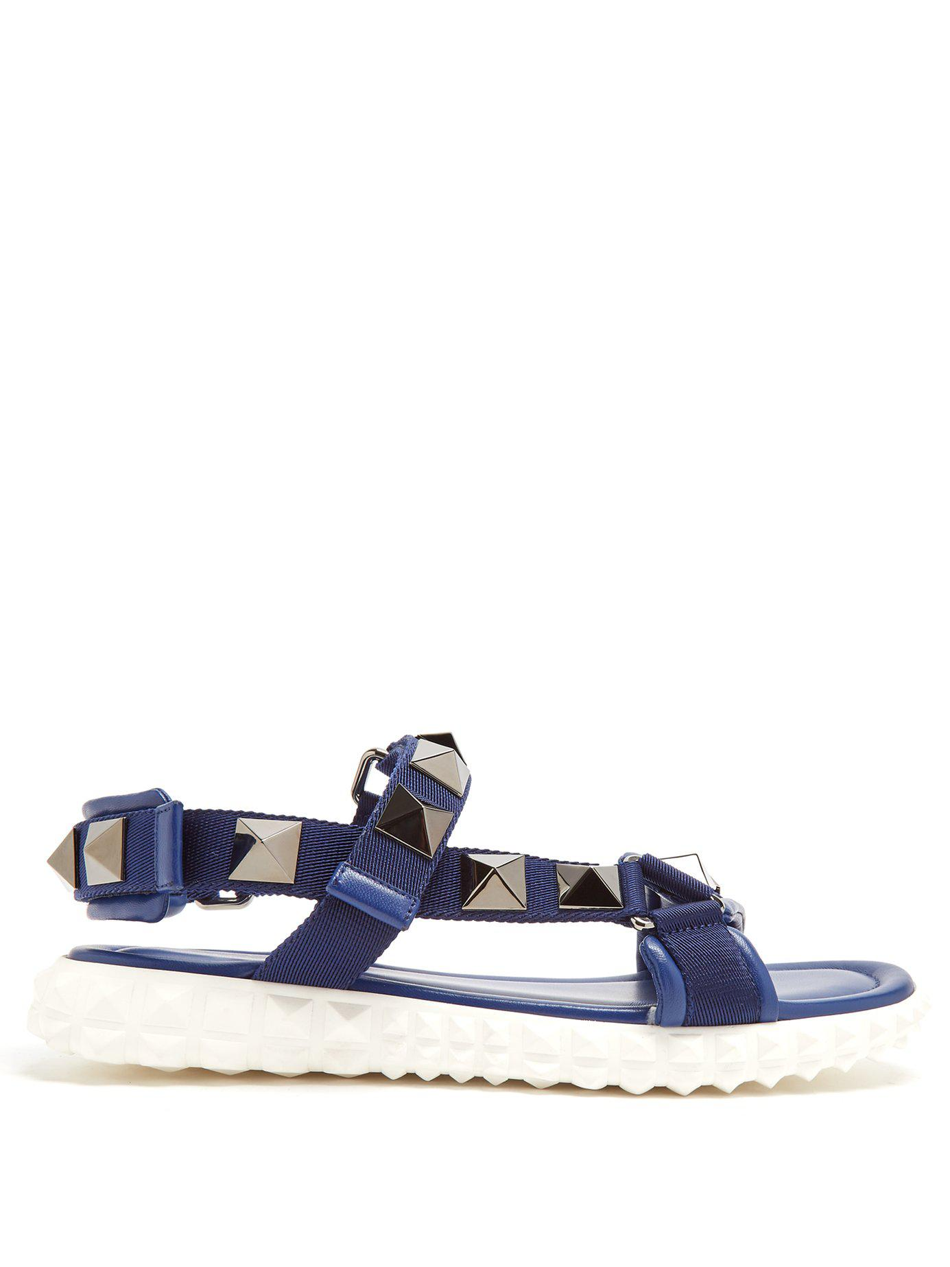 7a5585f30204 Lyst - Valentino Rubber Stud Sole Sandals in Blue