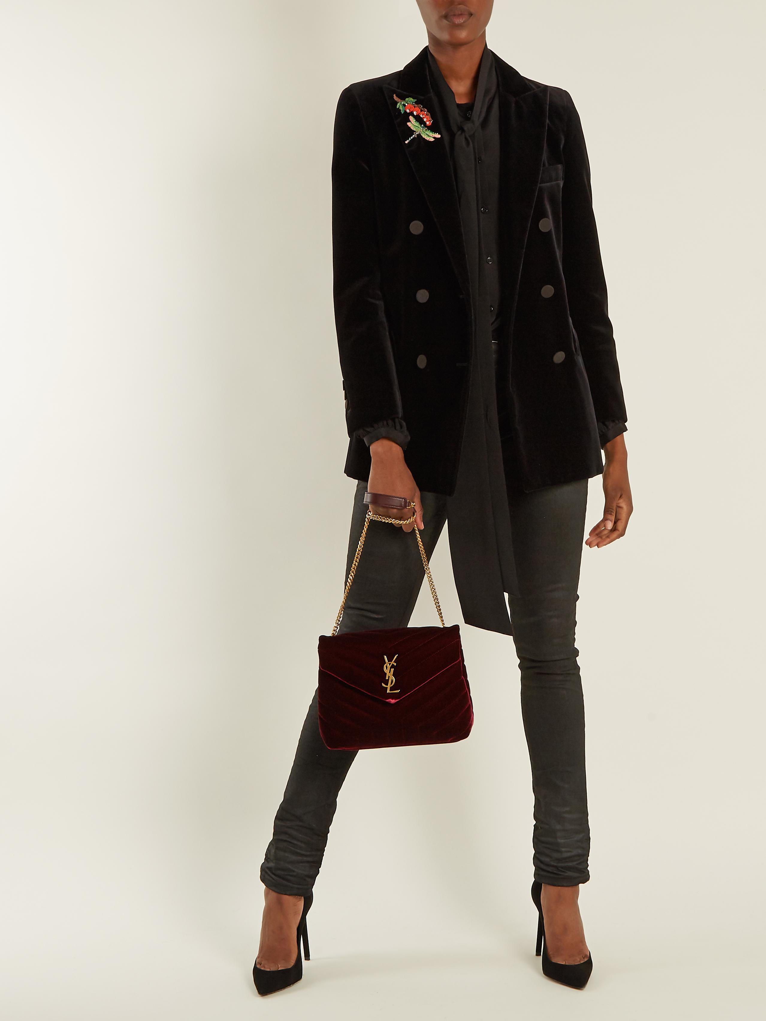 6e0ffc978b Saint Laurent Loulou Velvet Shoulder Bag - Lyst