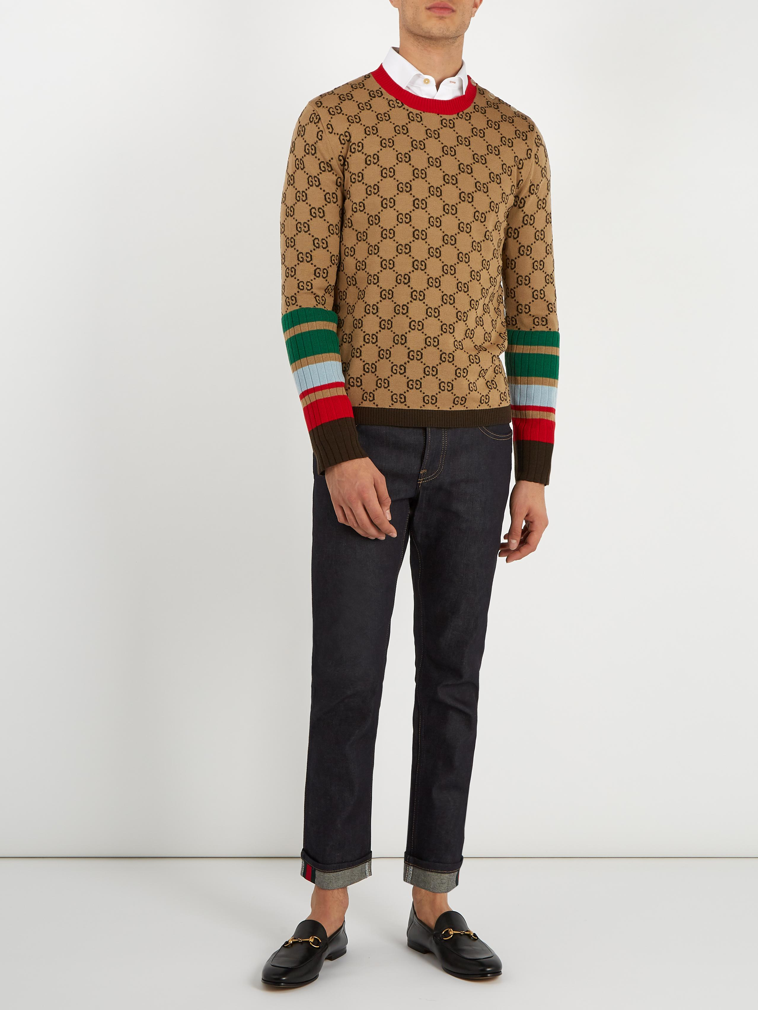 a6c75d3b285 Lyst - Gucci Gg-jacquard Crew-neck Wool Sweater in Natural for Men