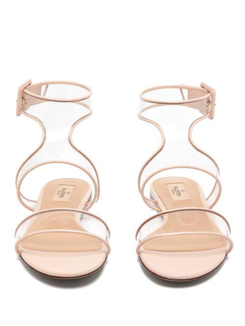 4086a1a1001a Valentino Dollybow Bow-embellished Leather Sandals in Pink - Lyst