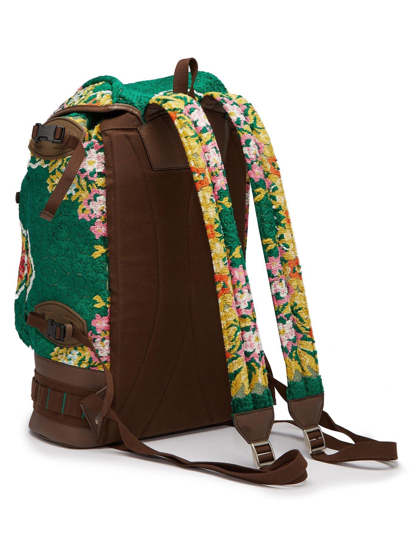 b799631de3a1 Gucci - Green Large Floral Velvet Jacquard Backpack for Men - Lyst. View  fullscreen