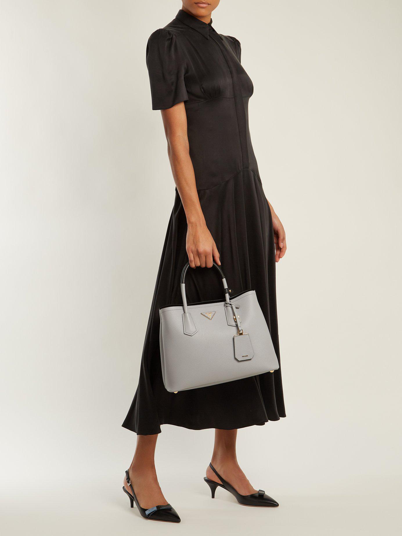 62600e0601531c Prada Double Saffiano Leather Bag in Gray - Lyst