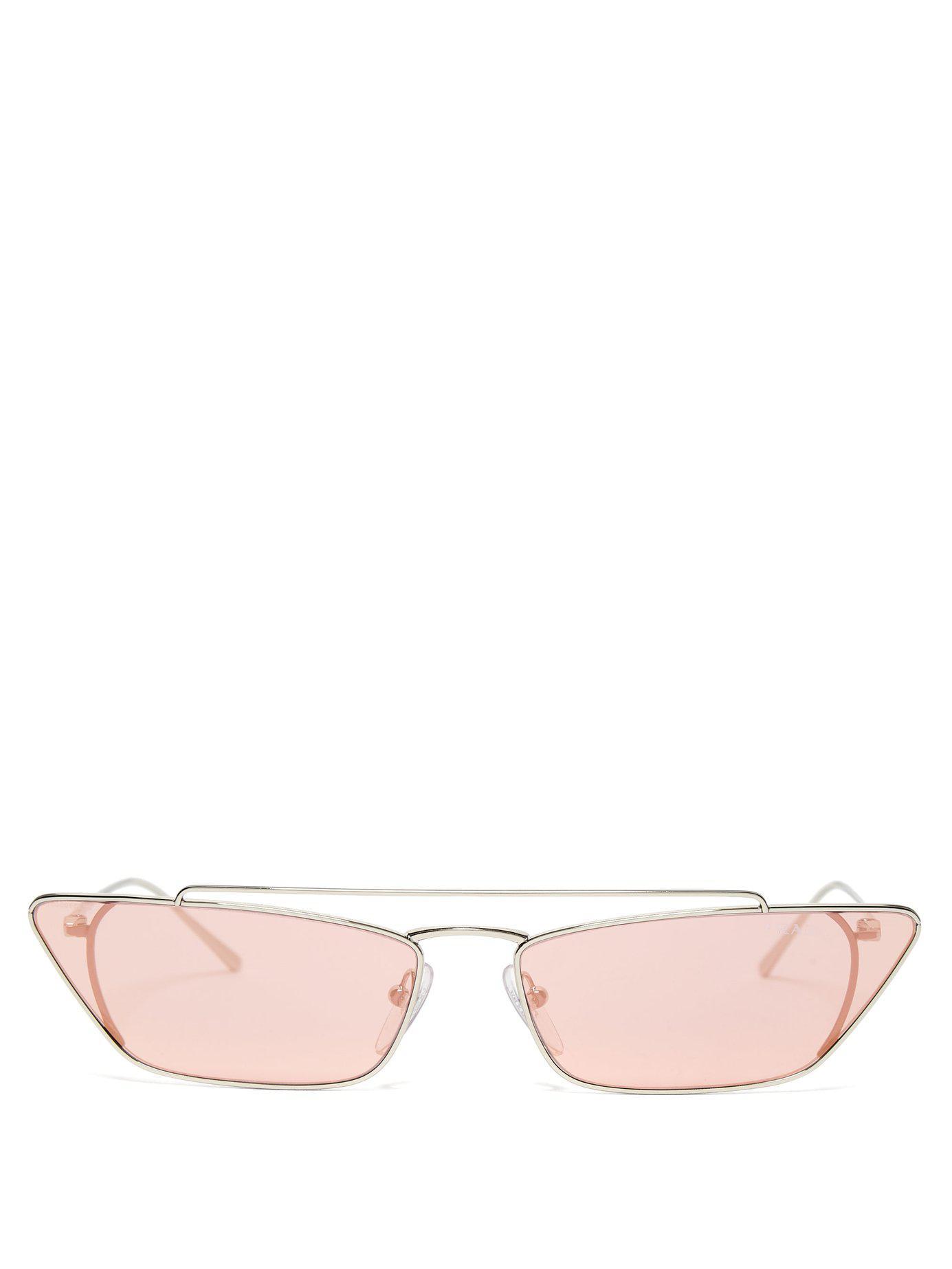 84b11194dd Lyst - Prada Ultravox Rectangular Frame Metal Sunglasses in Pink