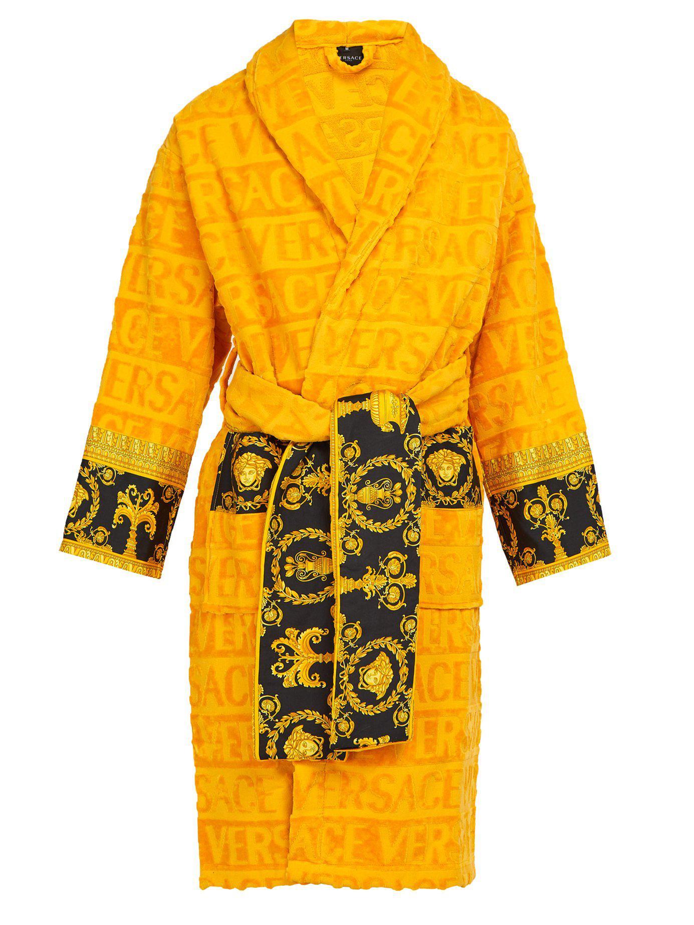 Lyst - Versace Print-panelled Logo-jacquard Cotton Bathrobe in ... 02bf96986