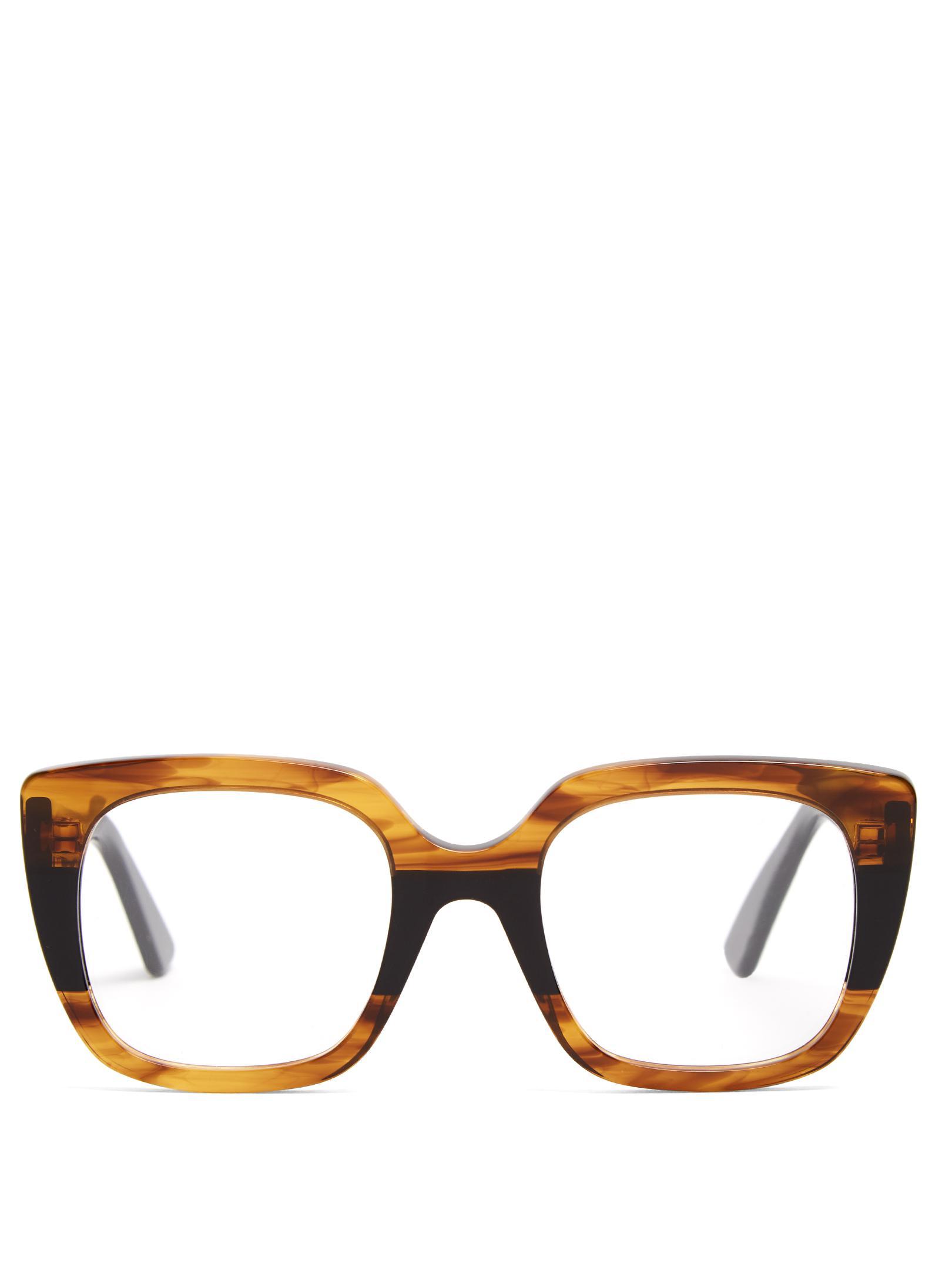 gucci square frame acetate glasses lyst