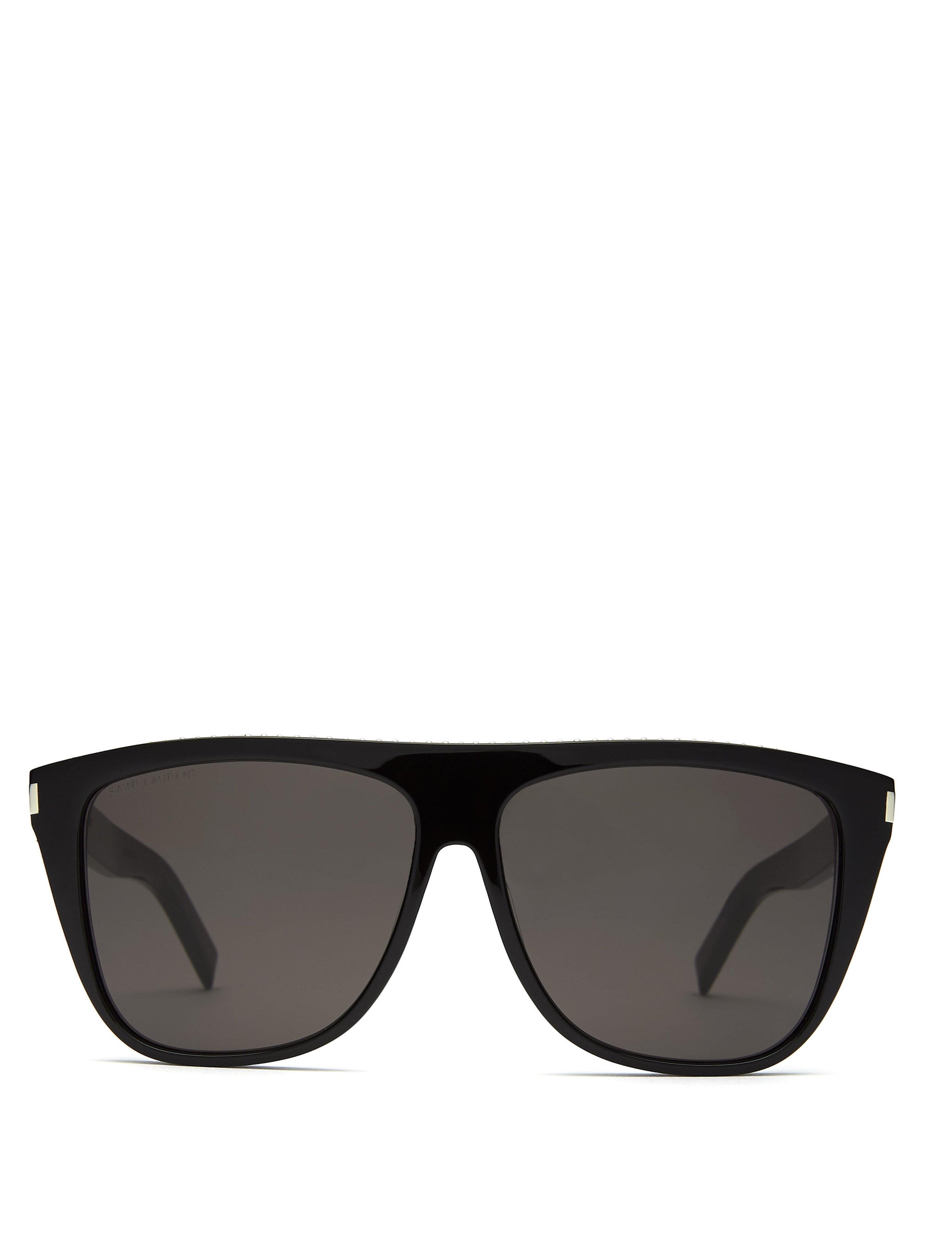 8cabff137b Saint Laurent D Frame Studded Acetate Sunglasses in Black for Men - Lyst