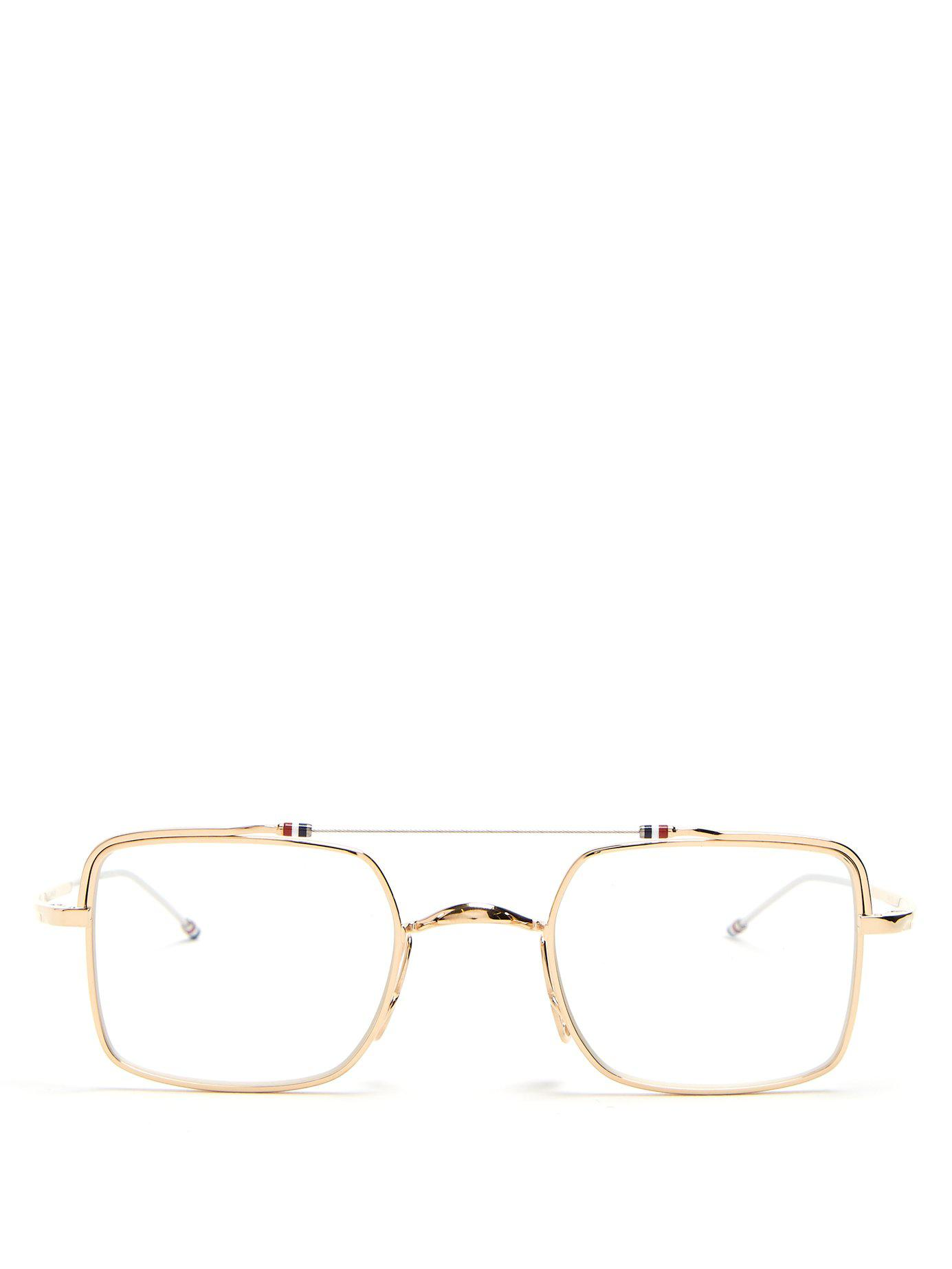 4154ff670834 Lyst - Thom Browne Aviator Frame Glasses in Metallic for Men