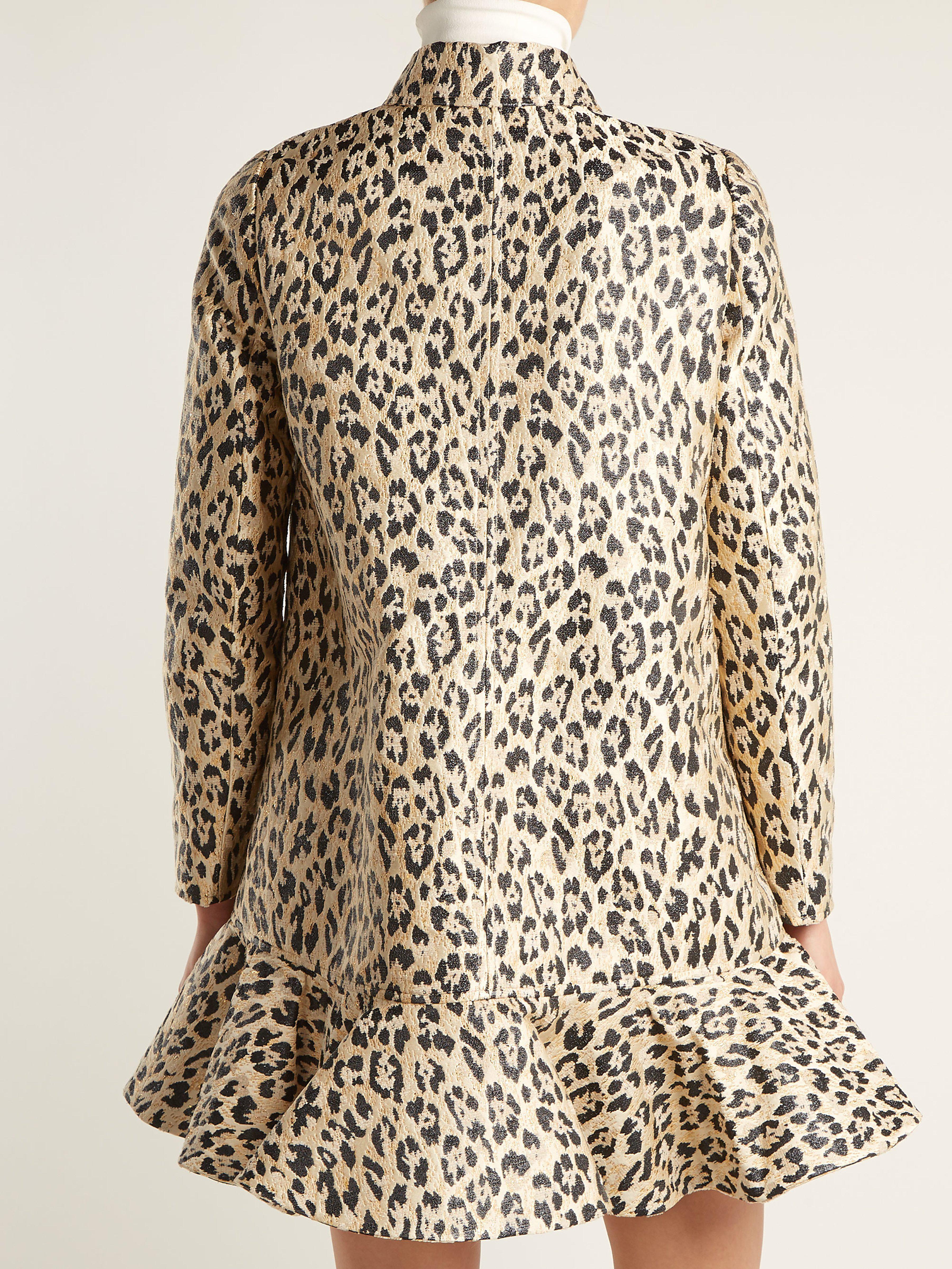 4467564d12d Valentino Leopard Print Brocade Coat - Lyst