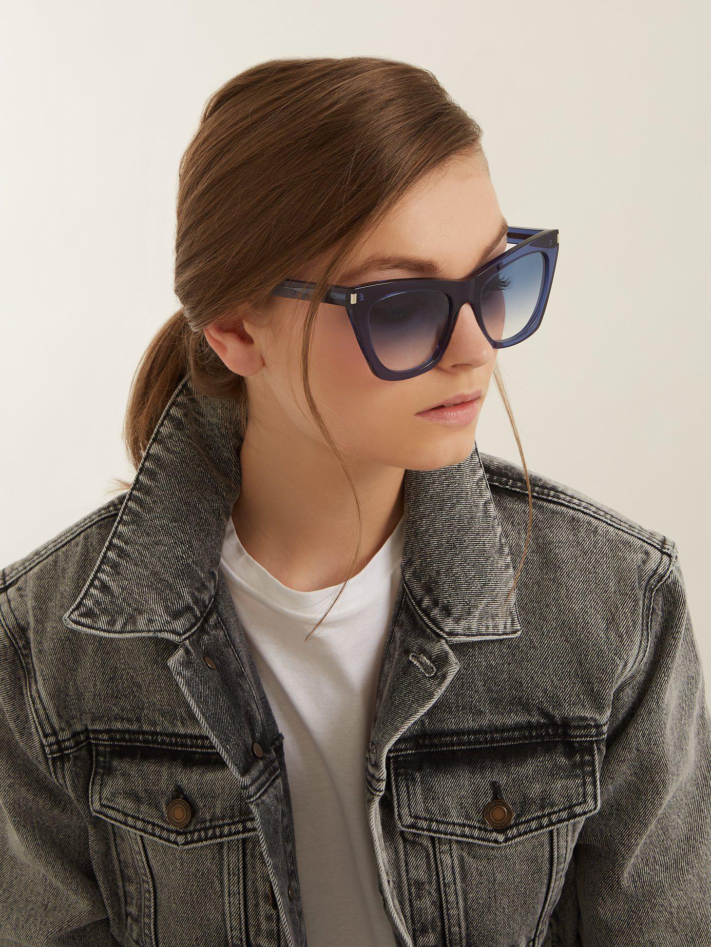 8be9de7672 Lyst - Saint Laurent Kate Square Cat Eye Frame Acetate Sunglasses in ...
