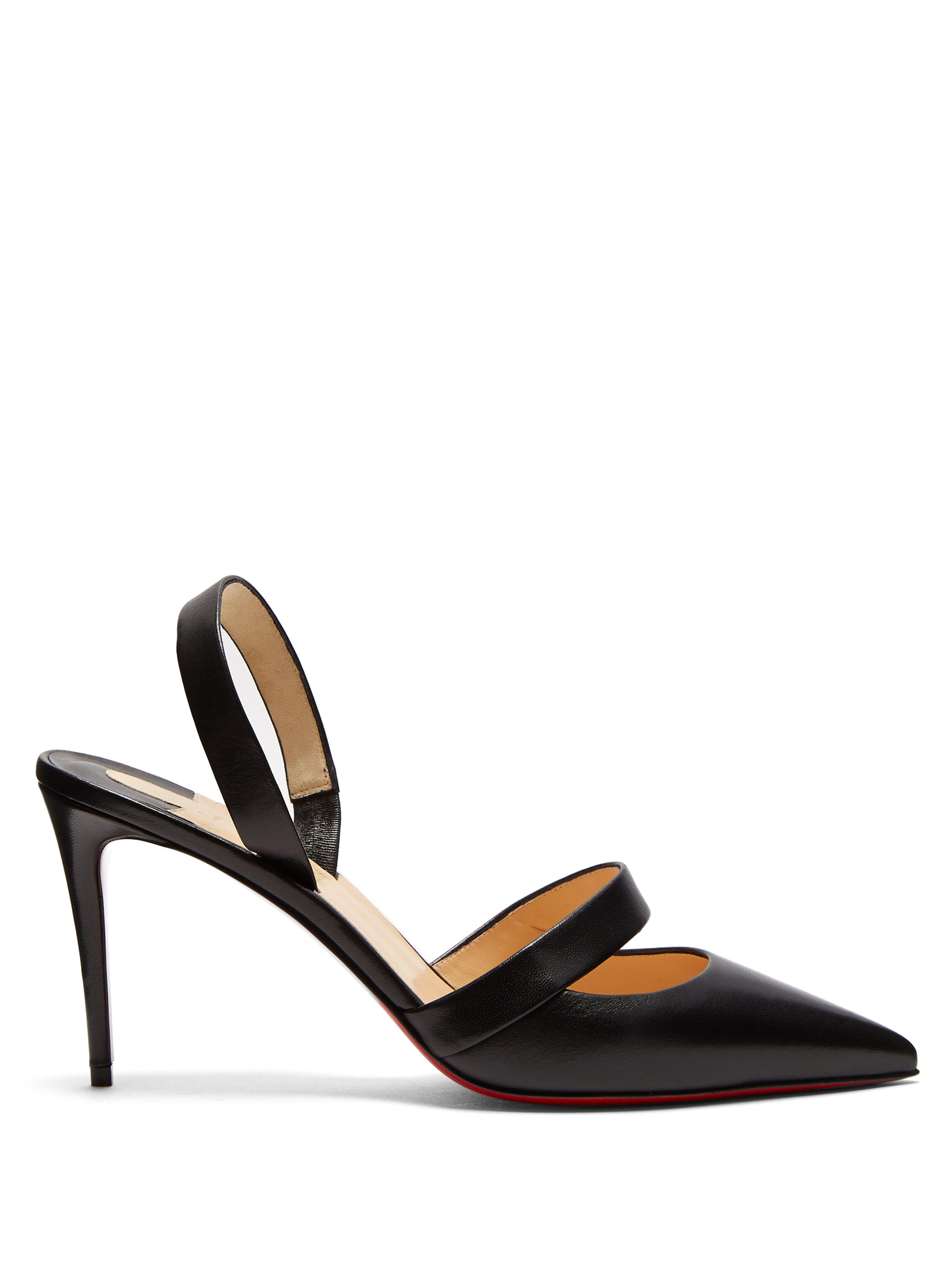 8bc63cf841f Christian Louboutin Actina Slingback Leather Pumps in Black - Lyst