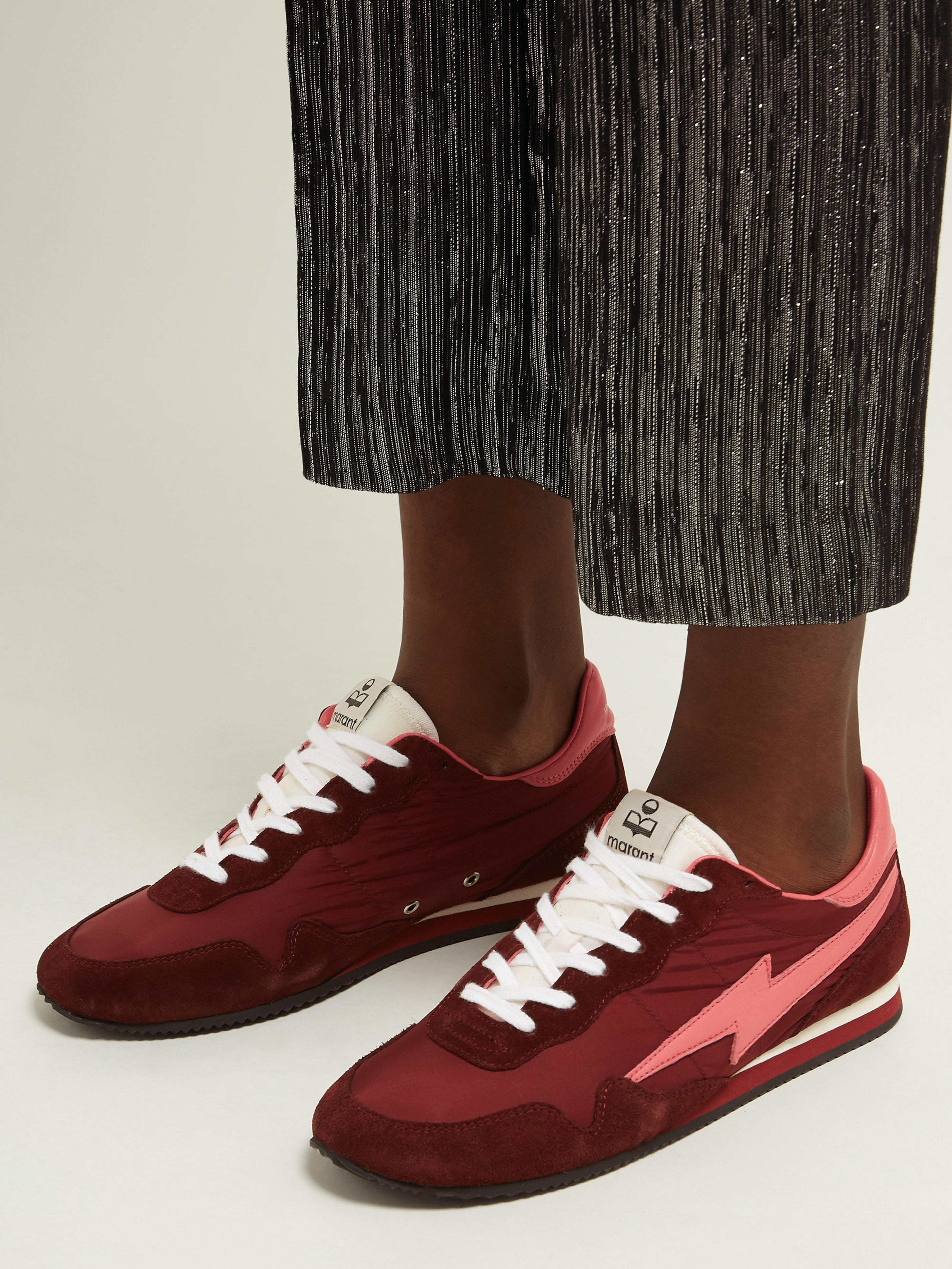 297dcbbfff2 Isabel Marant - Multicolor Bustee Lightning Bolt Leather And Suede Trainers  - Lyst. View fullscreen
