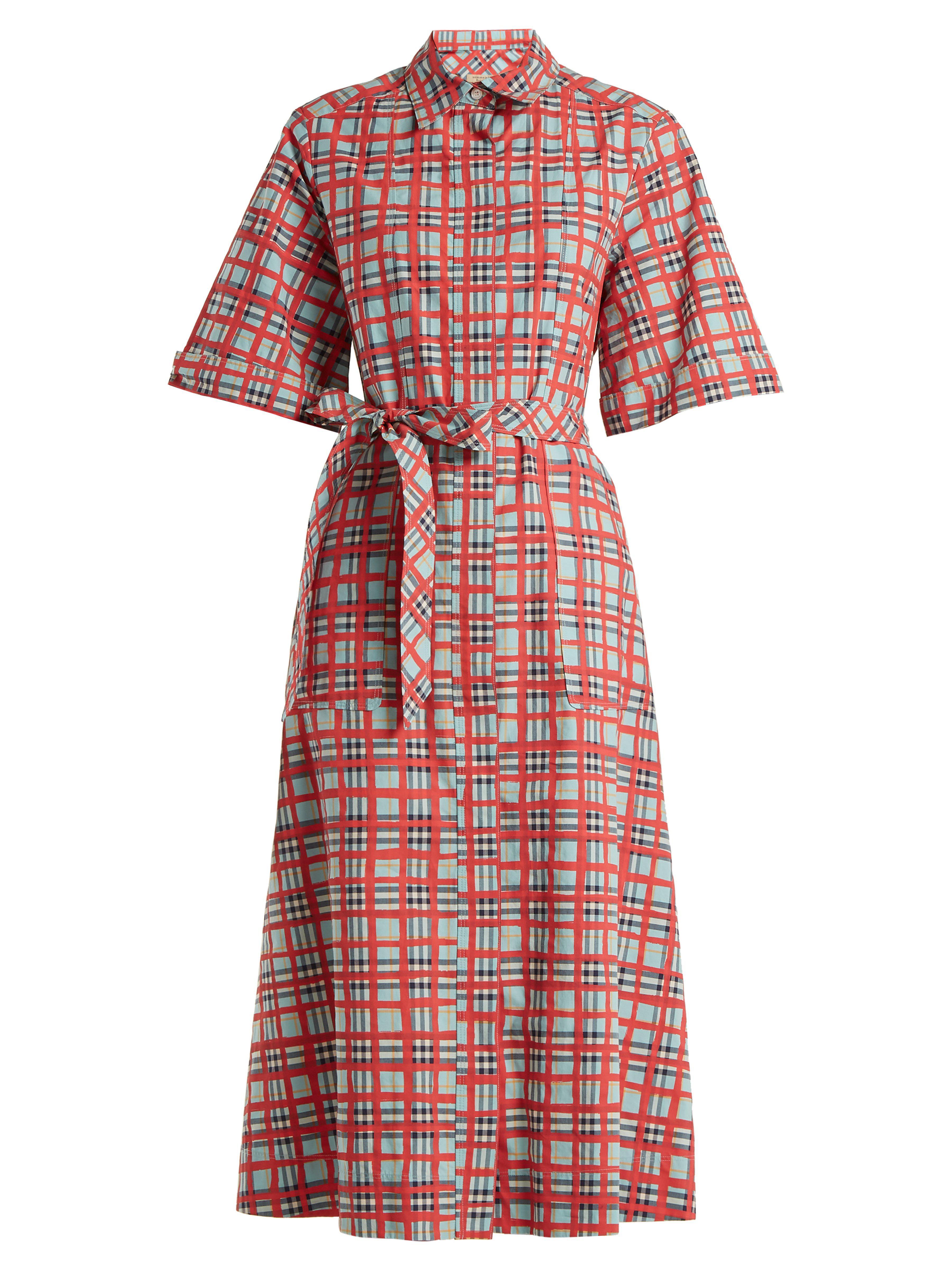 c8127003405 Lyst - Robe-chemise en coton à carreaux Carmen Burberry en coloris Rouge