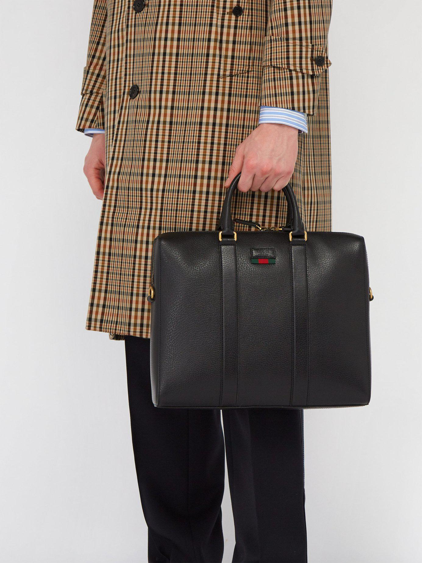 998acc2e2495 Gucci - Black Web Stripe Leather Briefcase for Men - Lyst. View fullscreen