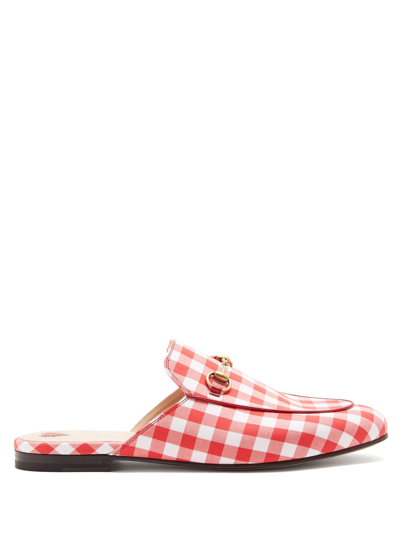 3c40b0d2e09 Gucci. Women s Princetown Gingham Loafers