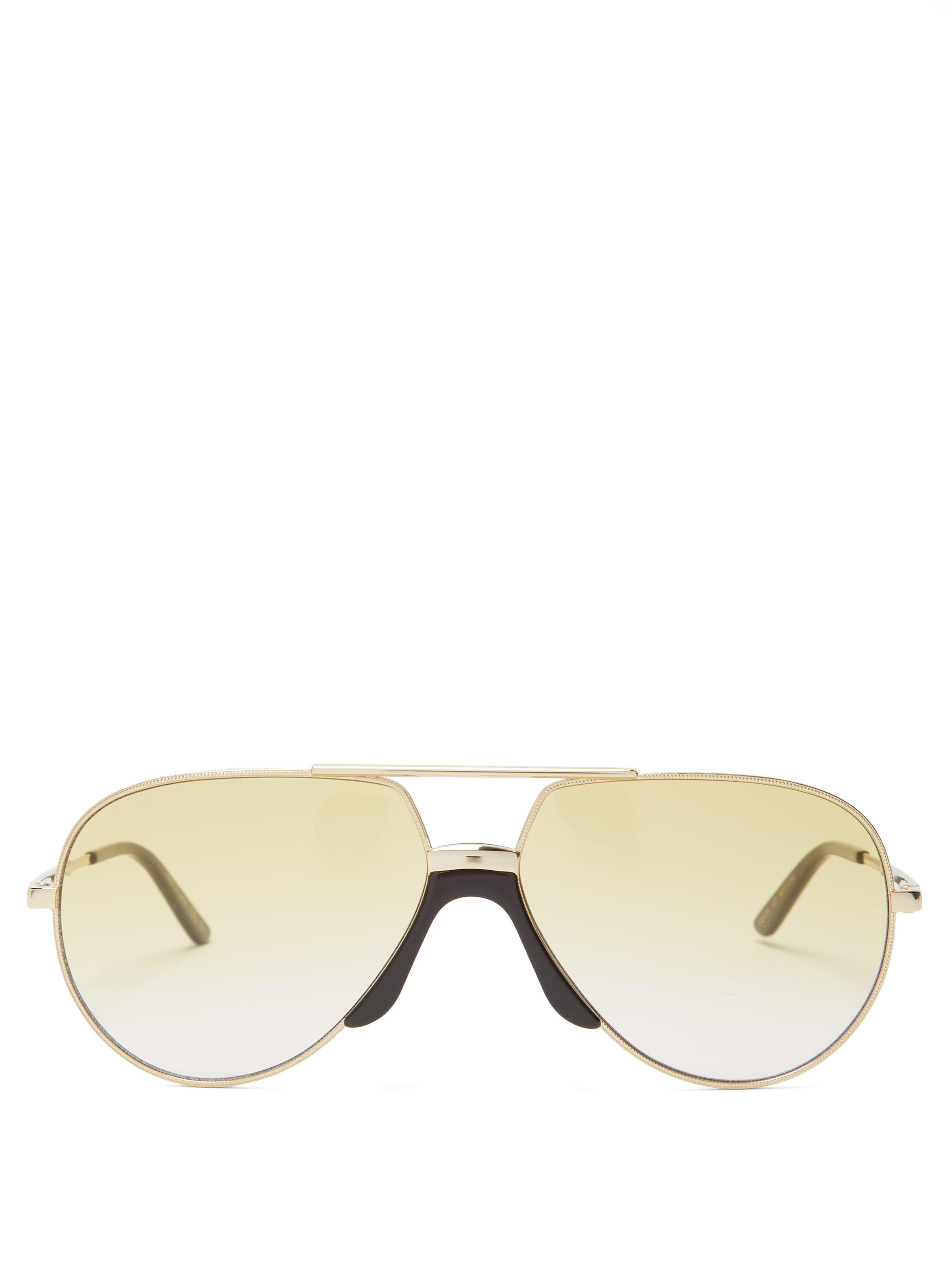 109f1a0caad Gucci Aviator Frame Metal Sunglasses in Metallic for Men - Lyst
