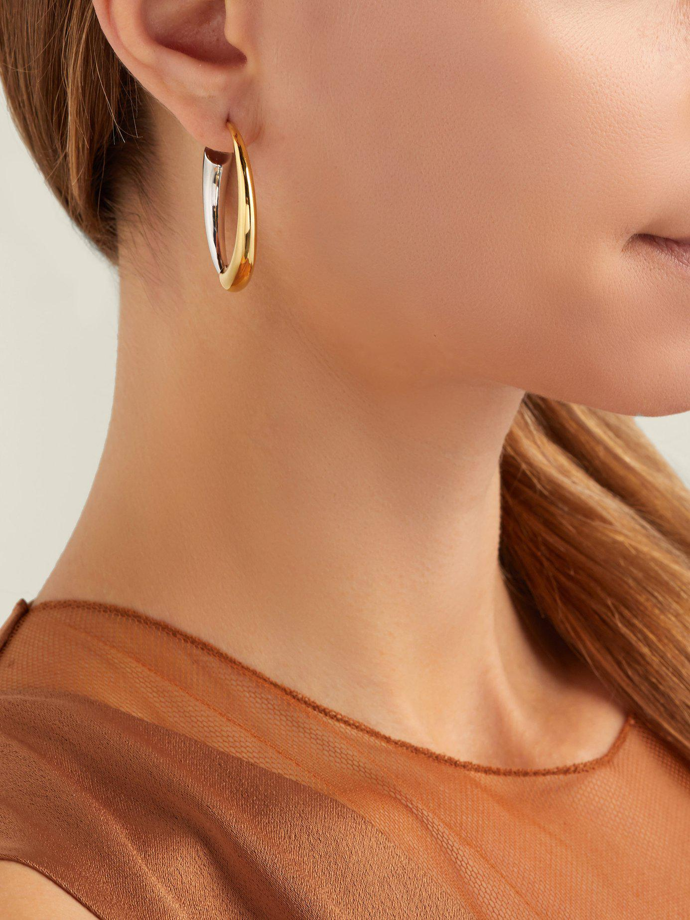 7bfe7814c18195 Lyst - Charlotte Chesnais Gia Vermeil & Silver Hoop Earrings in Metallic -  Save 5%