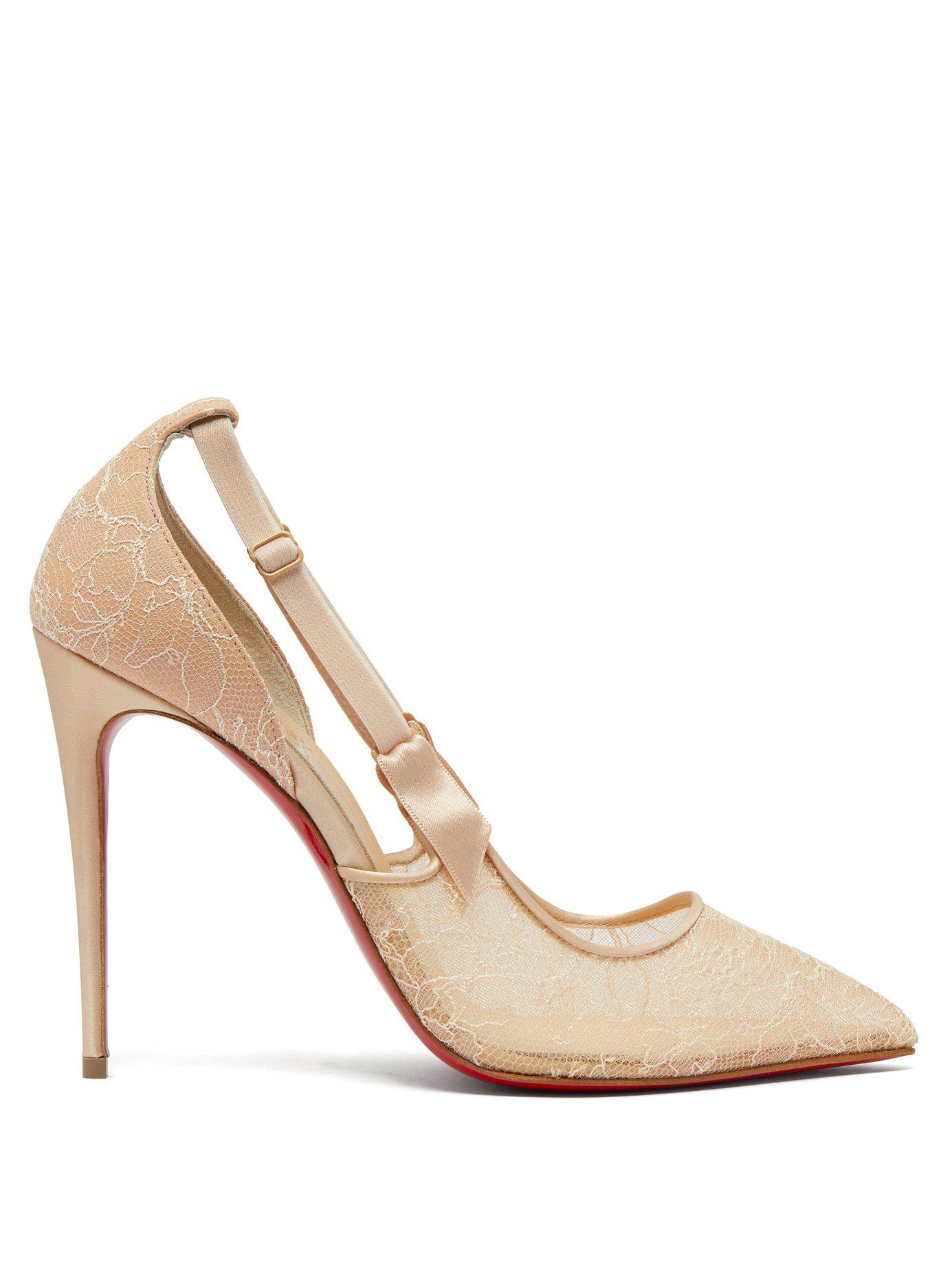 0ce8631acce Lyst - Christian Louboutin Hot Jeanbi 110 Lace Pumps in Natural