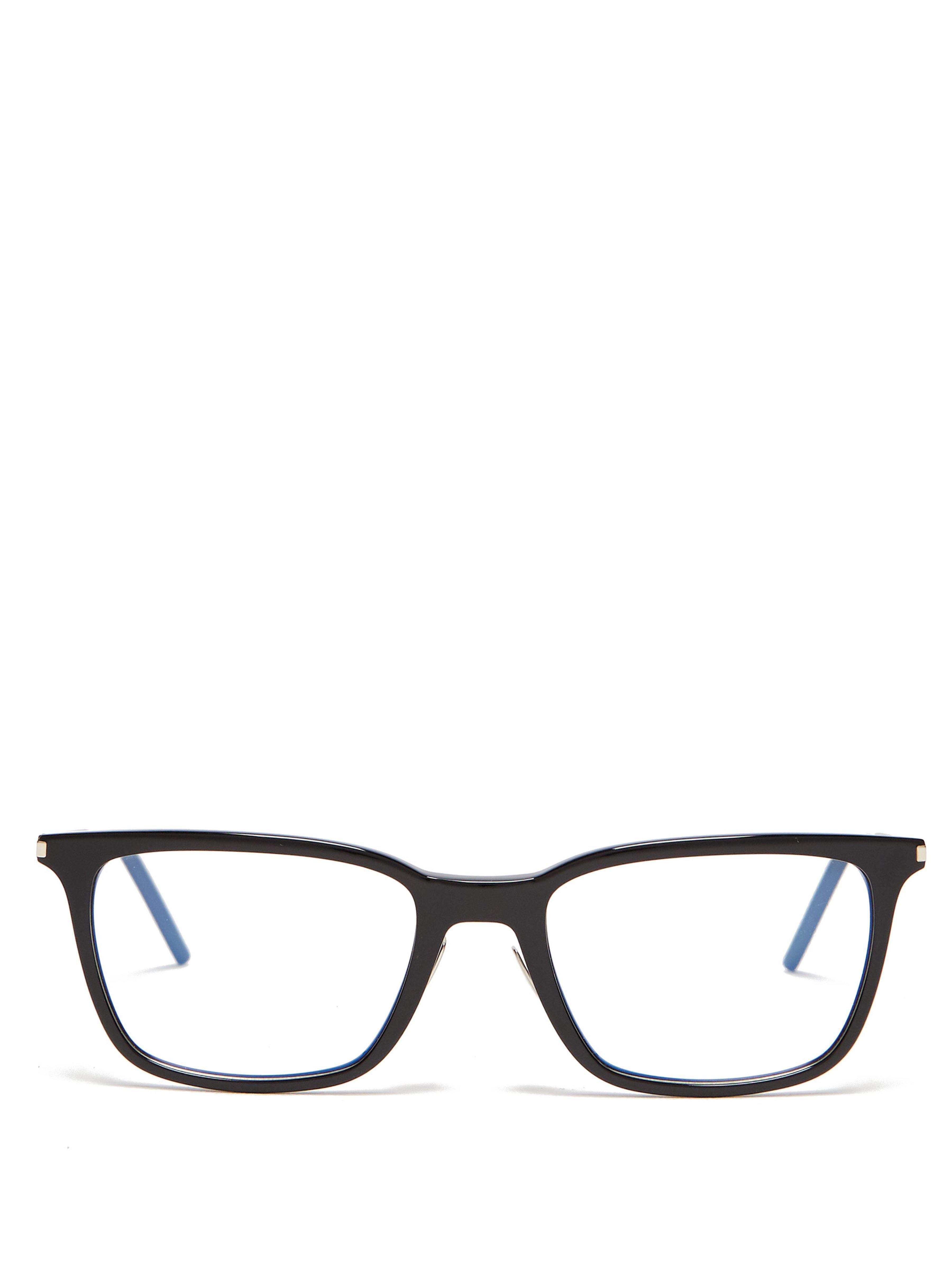 d042beb2dcc2 Saint Laurent Square Frame Acetate Glasses in Black for Men - Lyst
