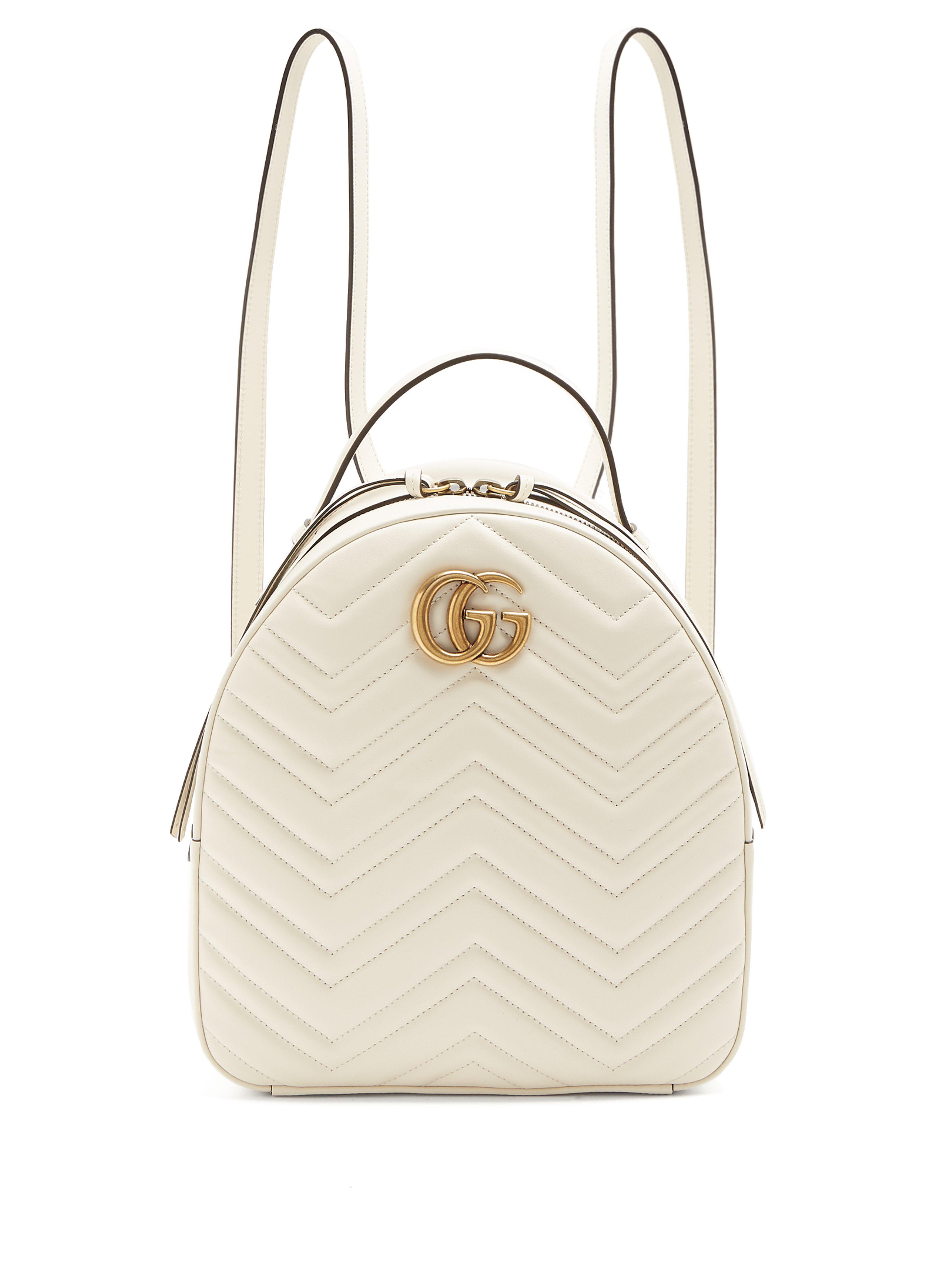 3c44103c6a4 Gucci GG Marmont Quilted-leather Backpack in White - Lyst