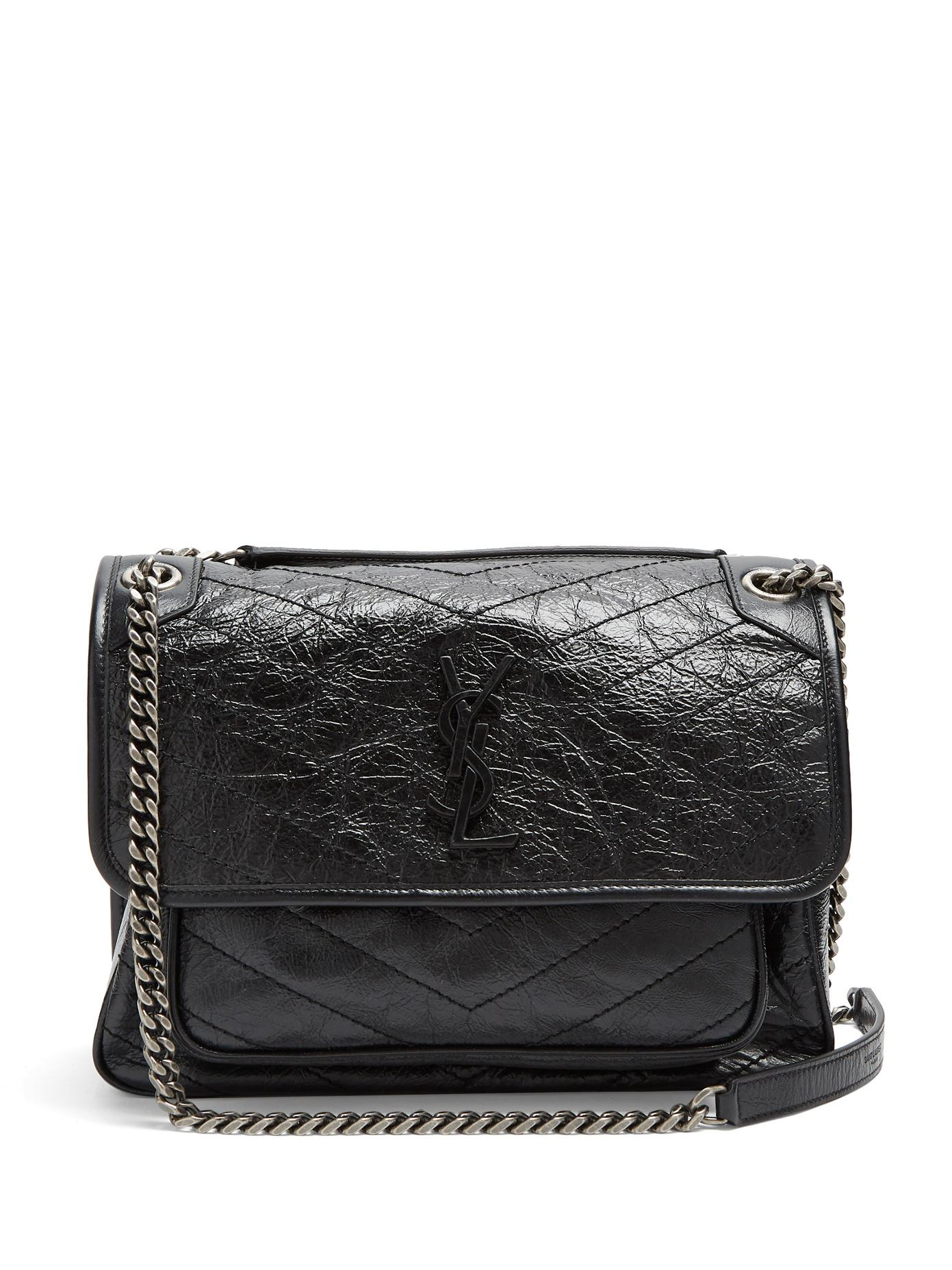 27adb6fe46 Lyst - Saint Laurent Niki Medium Quilted Leather Bag in Black